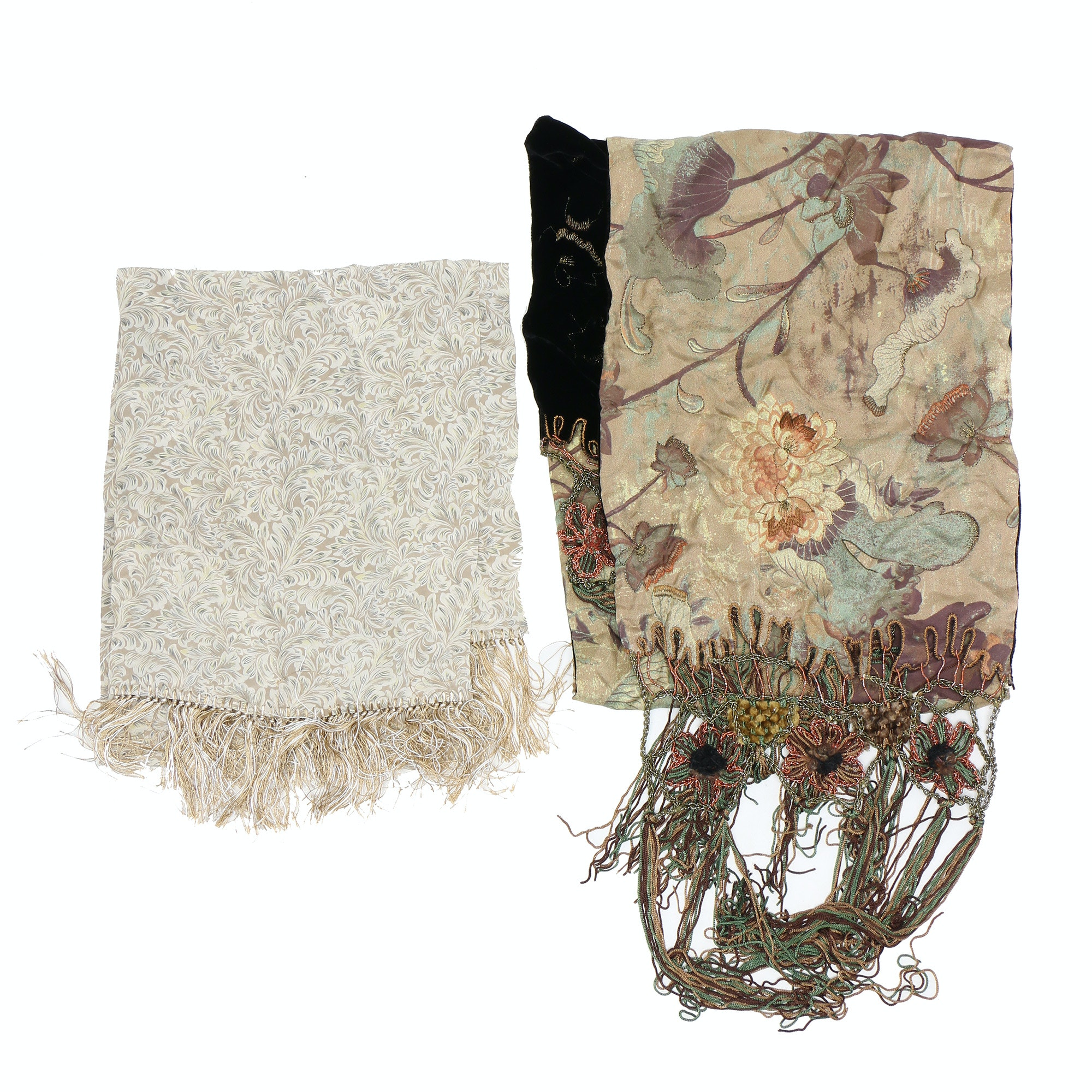 Silk Fringe Scarves Including Pazuki