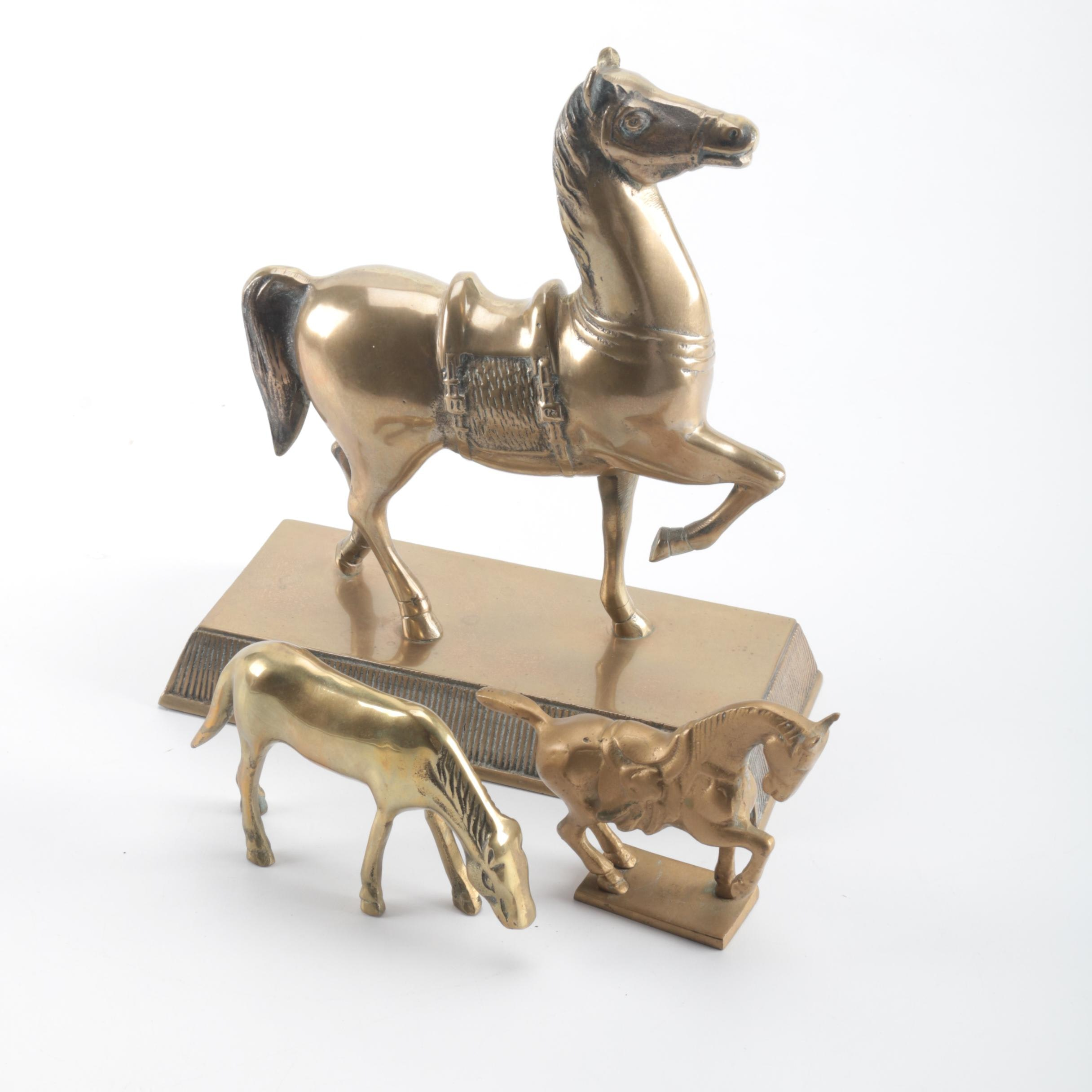 Collection of Brass Horses