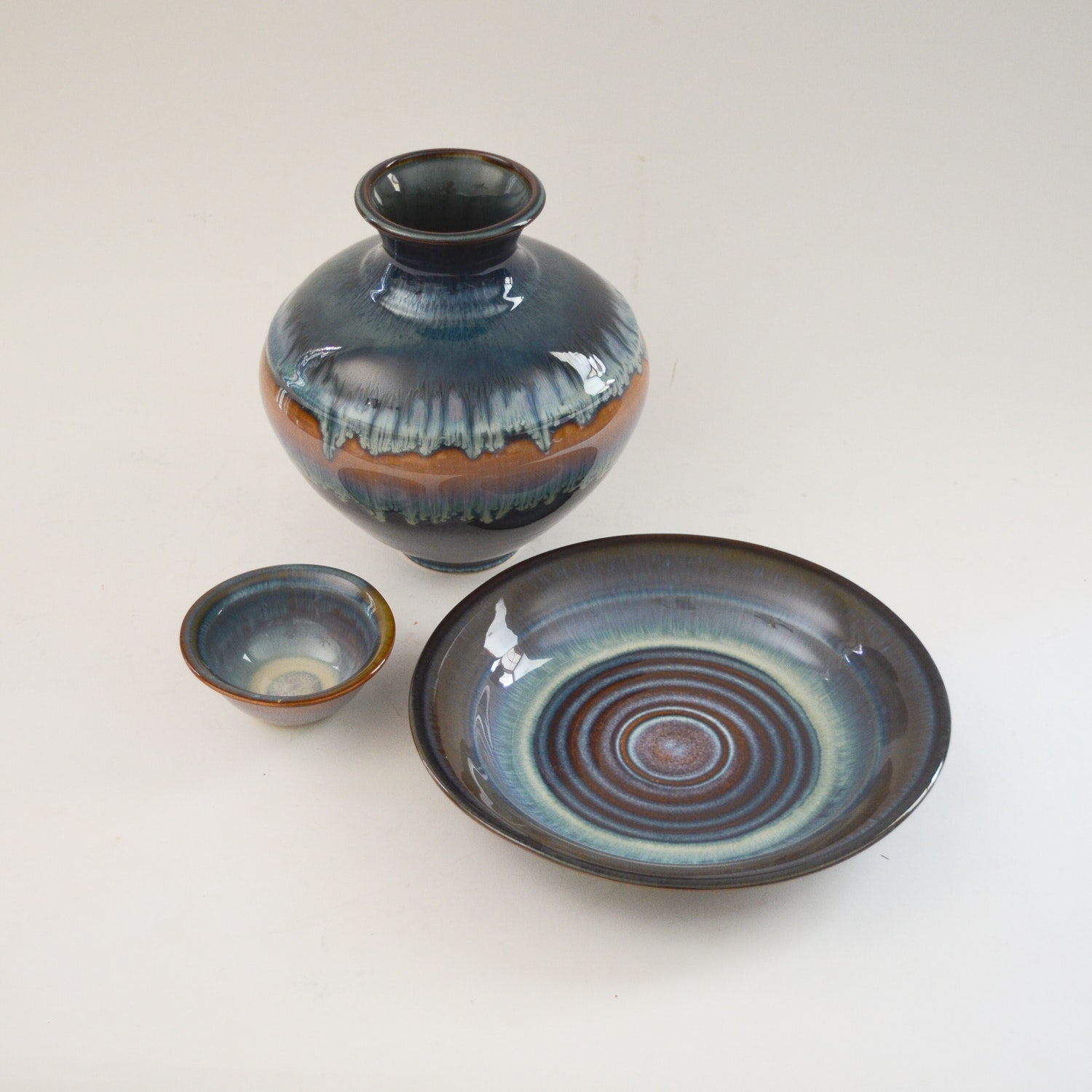 Hand Thrown Vase and Dishes