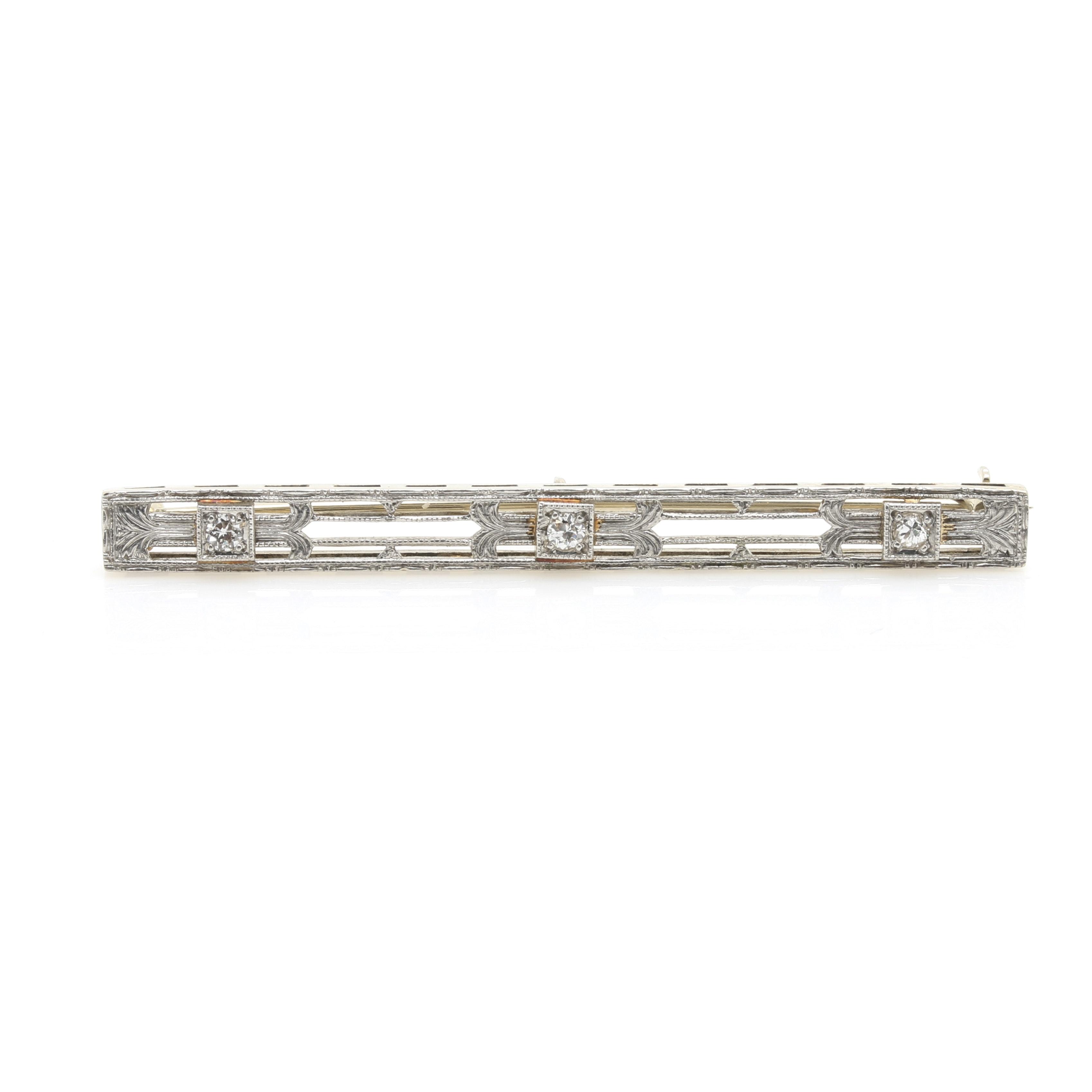 Edwardian Style 14K White Gold and Platinum Diamond Bar Pin