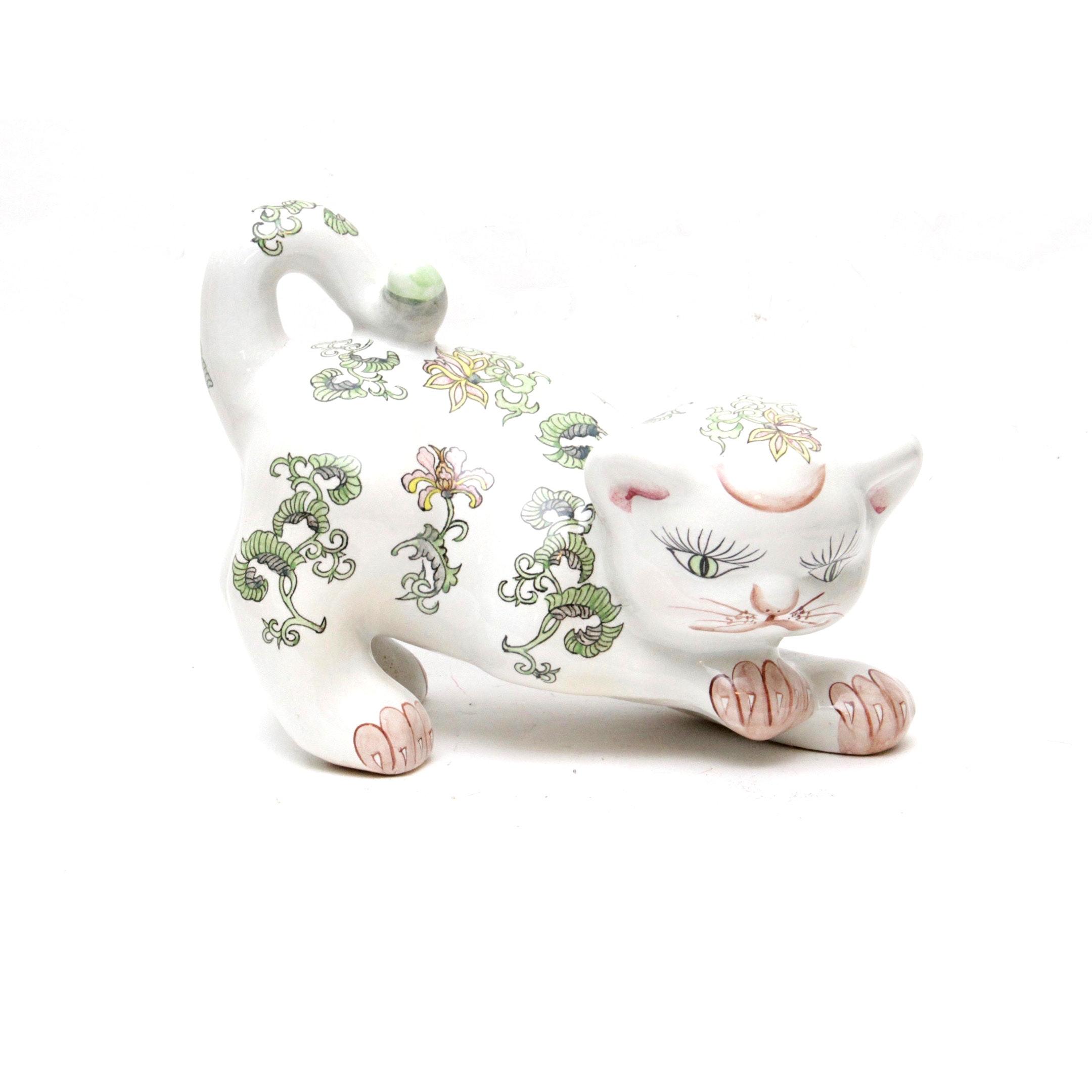 Vintage Ceramic Japanese Cat with Floral Motif