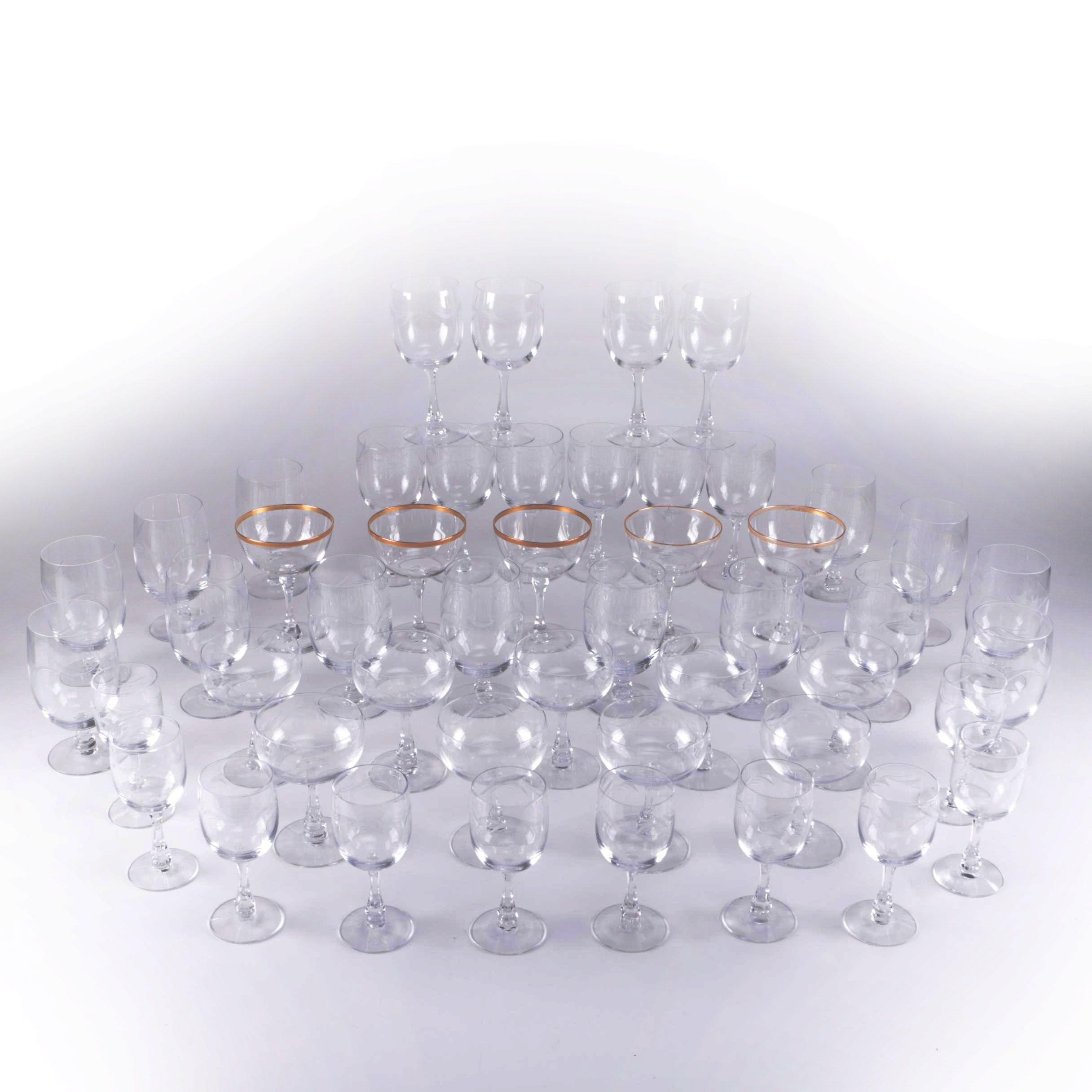Large Assortment of Glass Stemware