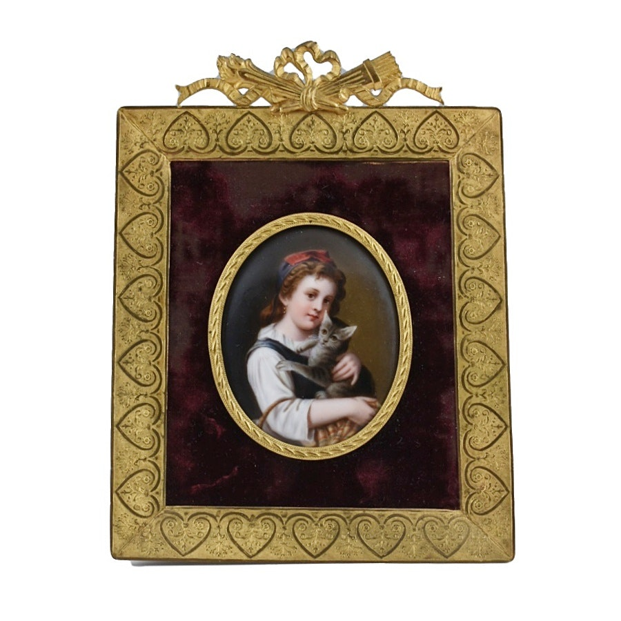 19th Century Hand Painted Porcelain Portrait of Girl with Cat