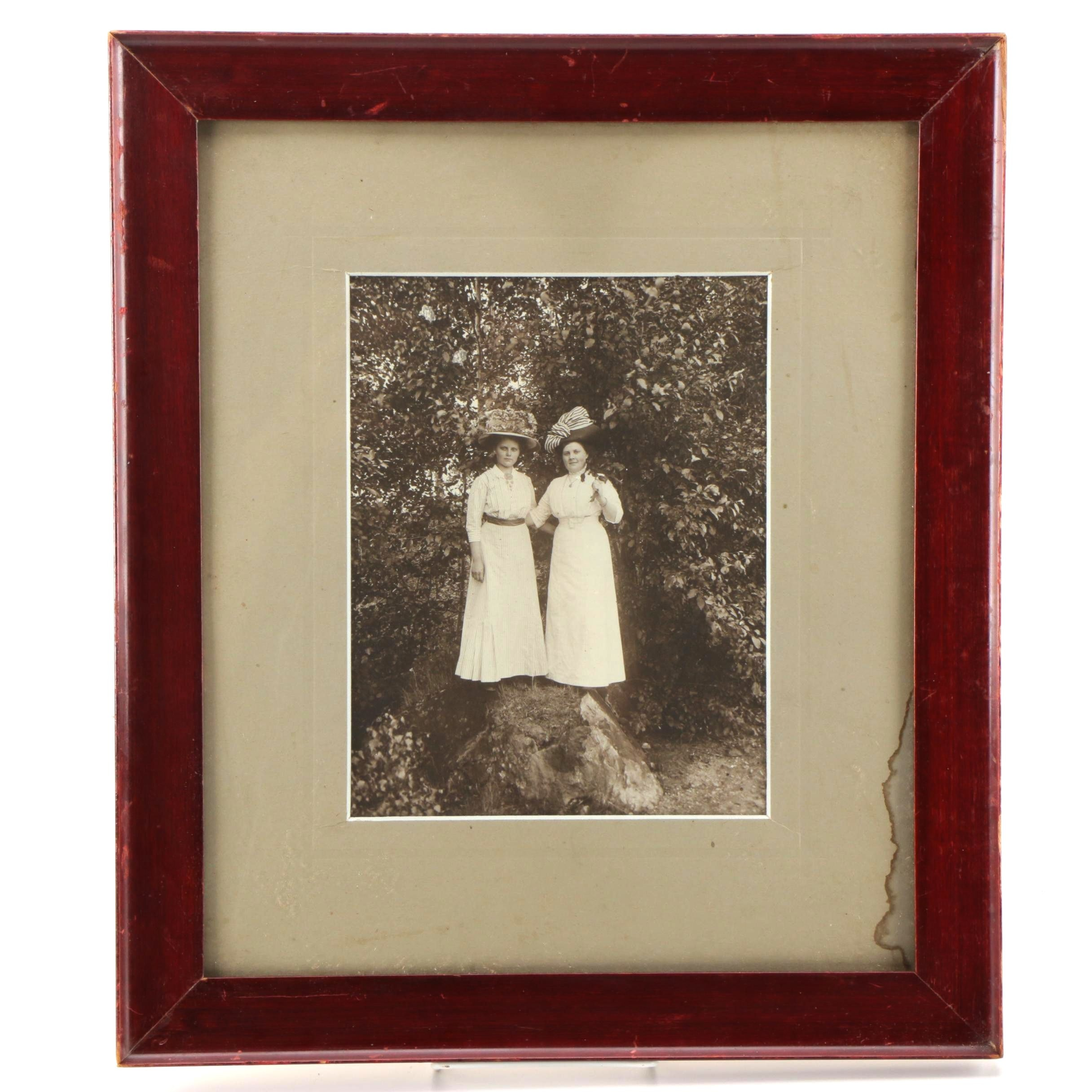 Turn of the Century Photograph of Two Victorian Era Women on a Hike