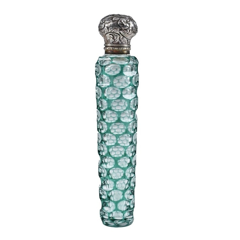 Circa 1880 Green Cut To Clear Glass Scent Bottle With