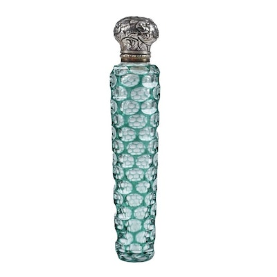 Circa 1880 Green Cut to Clear Glass Scent Bottle with Silver Cap