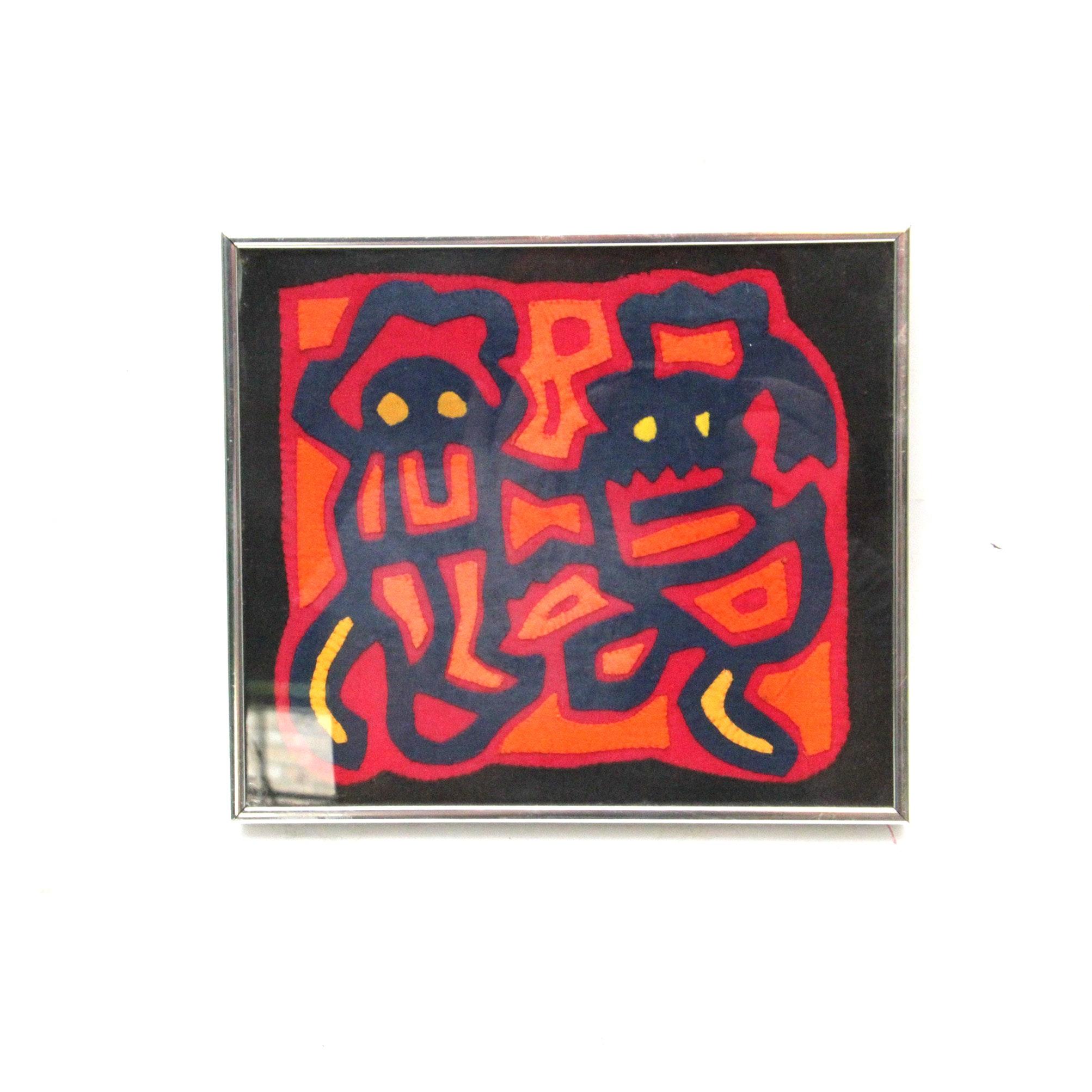 Framed Mola Fabric Art