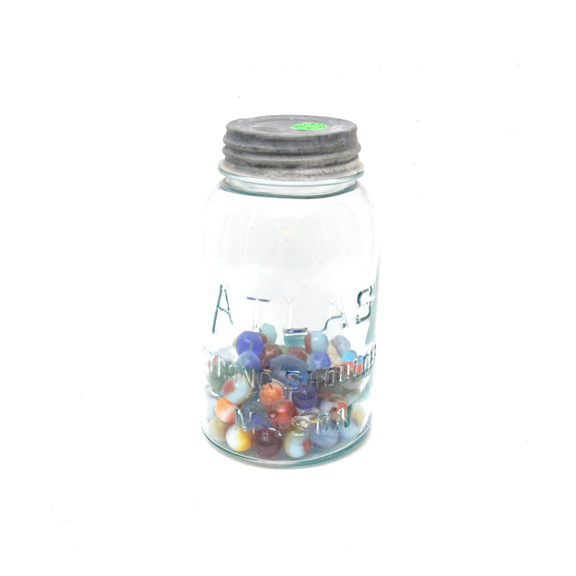 Vintage Marbles in Glass Mason Jar