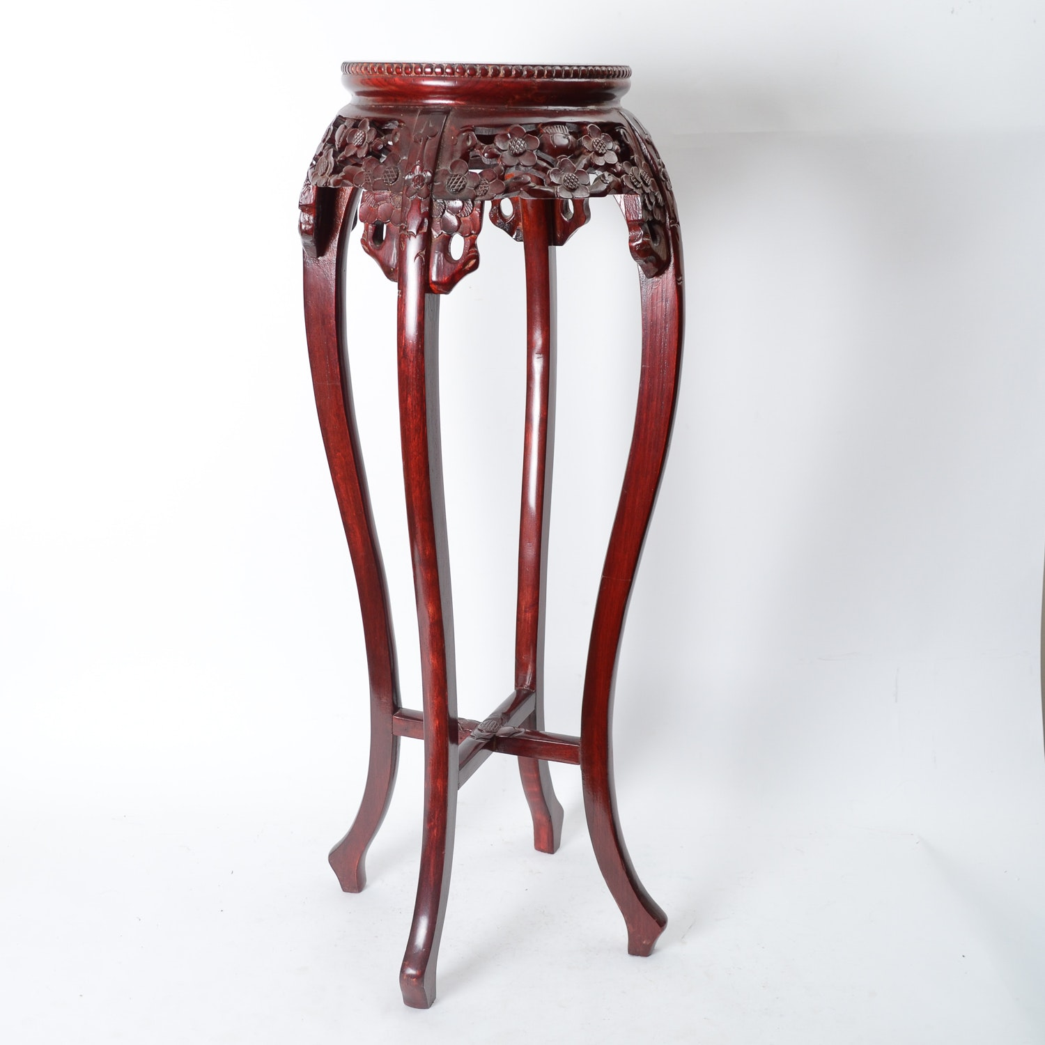 Carved Wooden and Marble Plant Stand