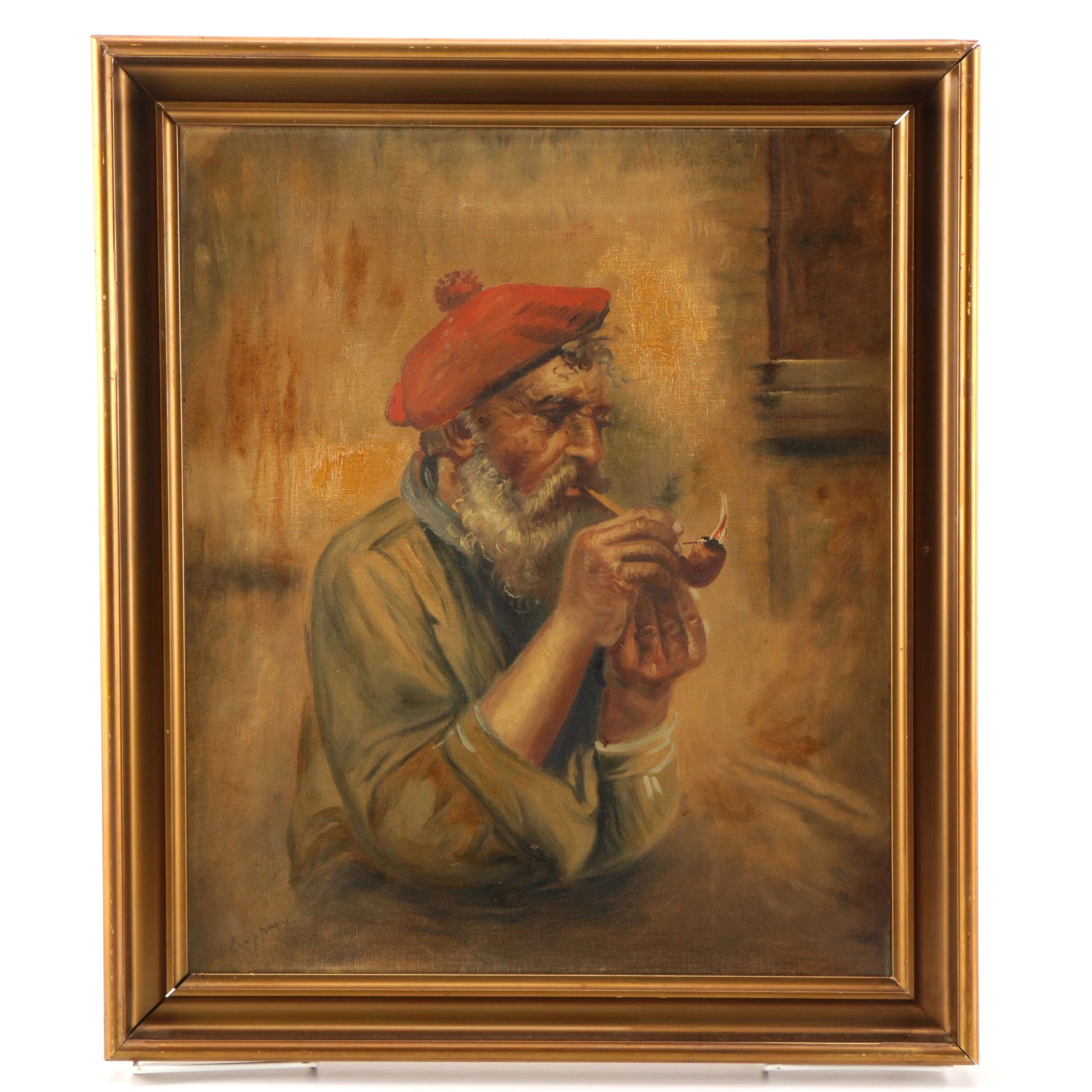 V. Ciappa Oil Painting on Canvas Portrait of Man Smoking a Pipe