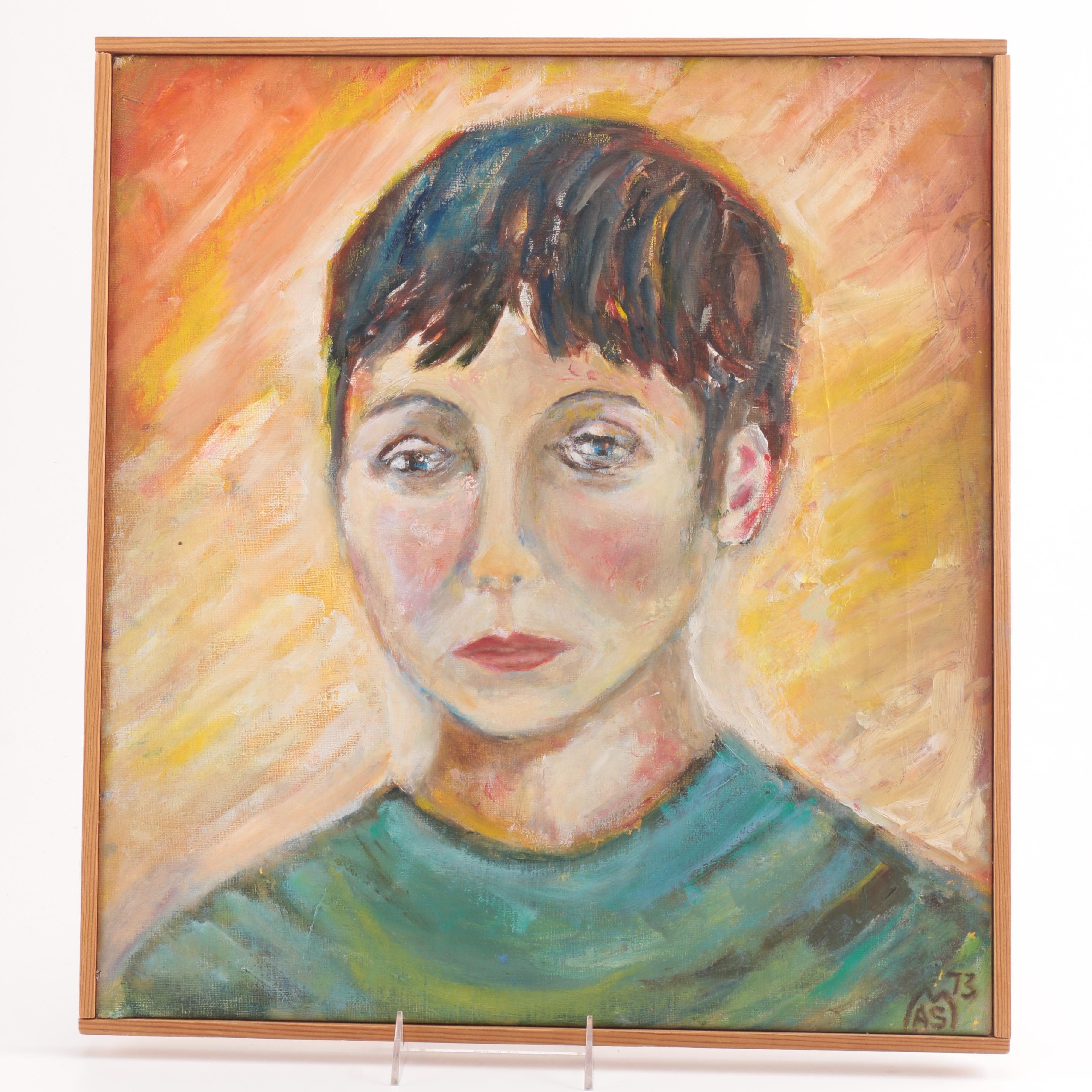 1973 Oil Portrait on Canvas of Melancholy Woman in Green