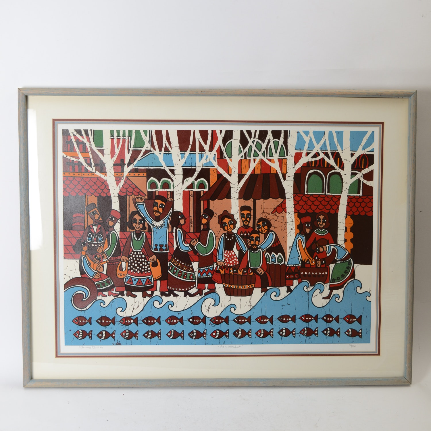 "Amos Amit Limited Edition Serigraph ""Fish Market"""