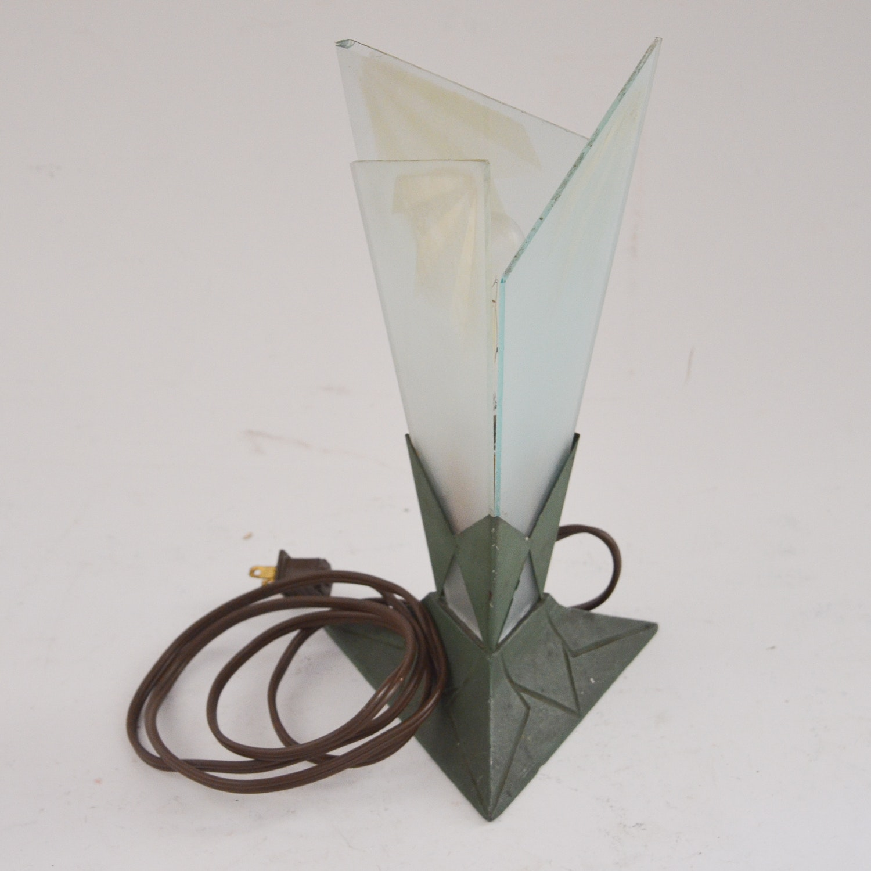 Vintage Art Deco Style Glass Table Lamp