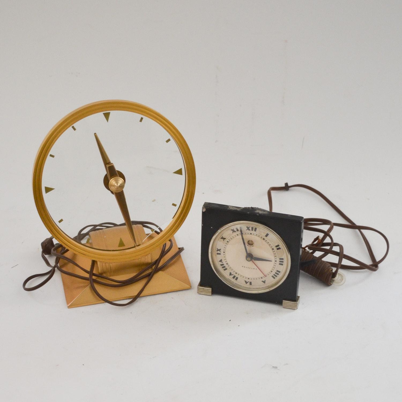 "Vintage Electric Clocks Including a Jefferson ""Golden Hour"" Clock"