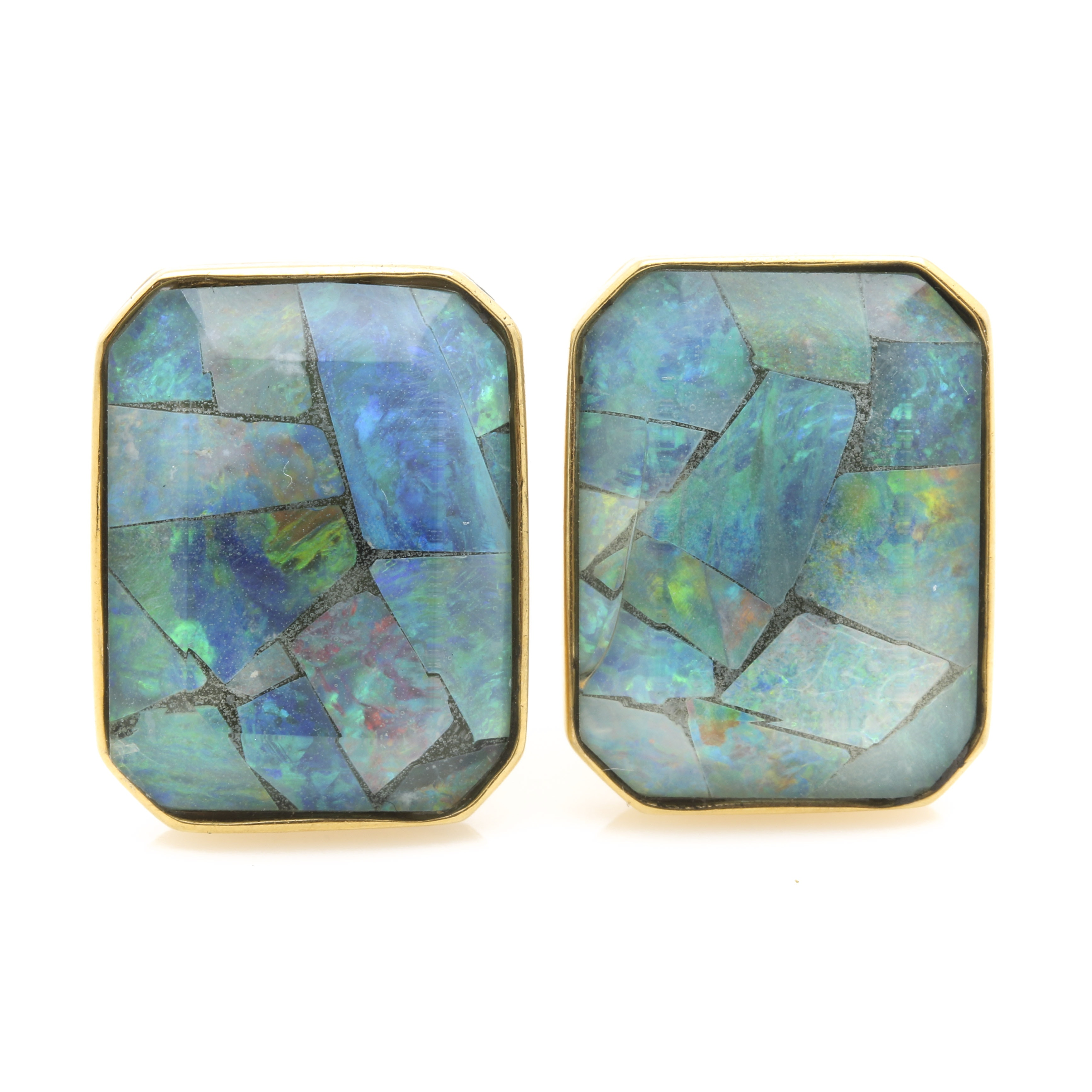 14K Yellow Gold Cufflinks with Opal Triplet Inlay Stones
