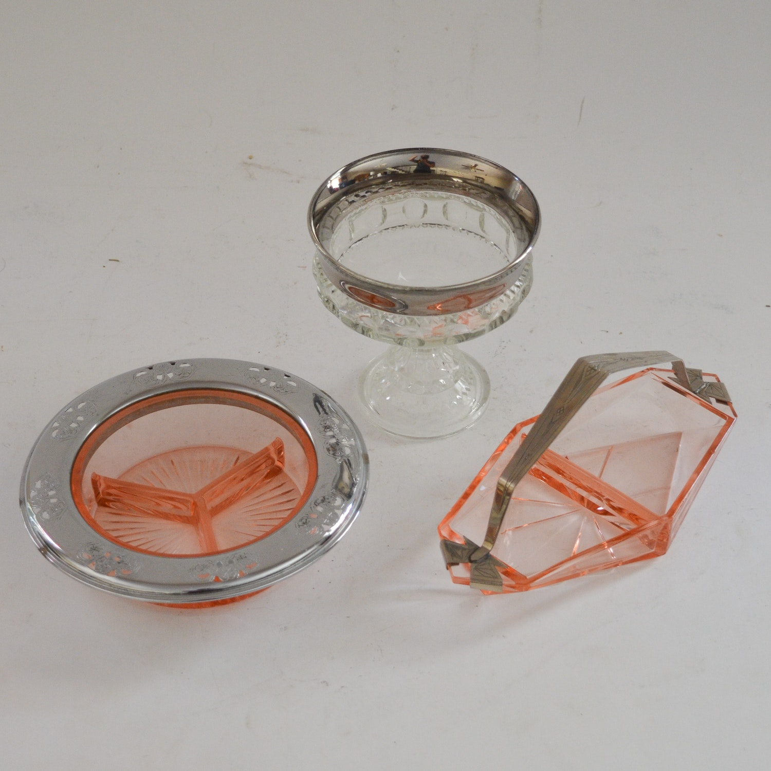 Collection of Metal Accented Glassware