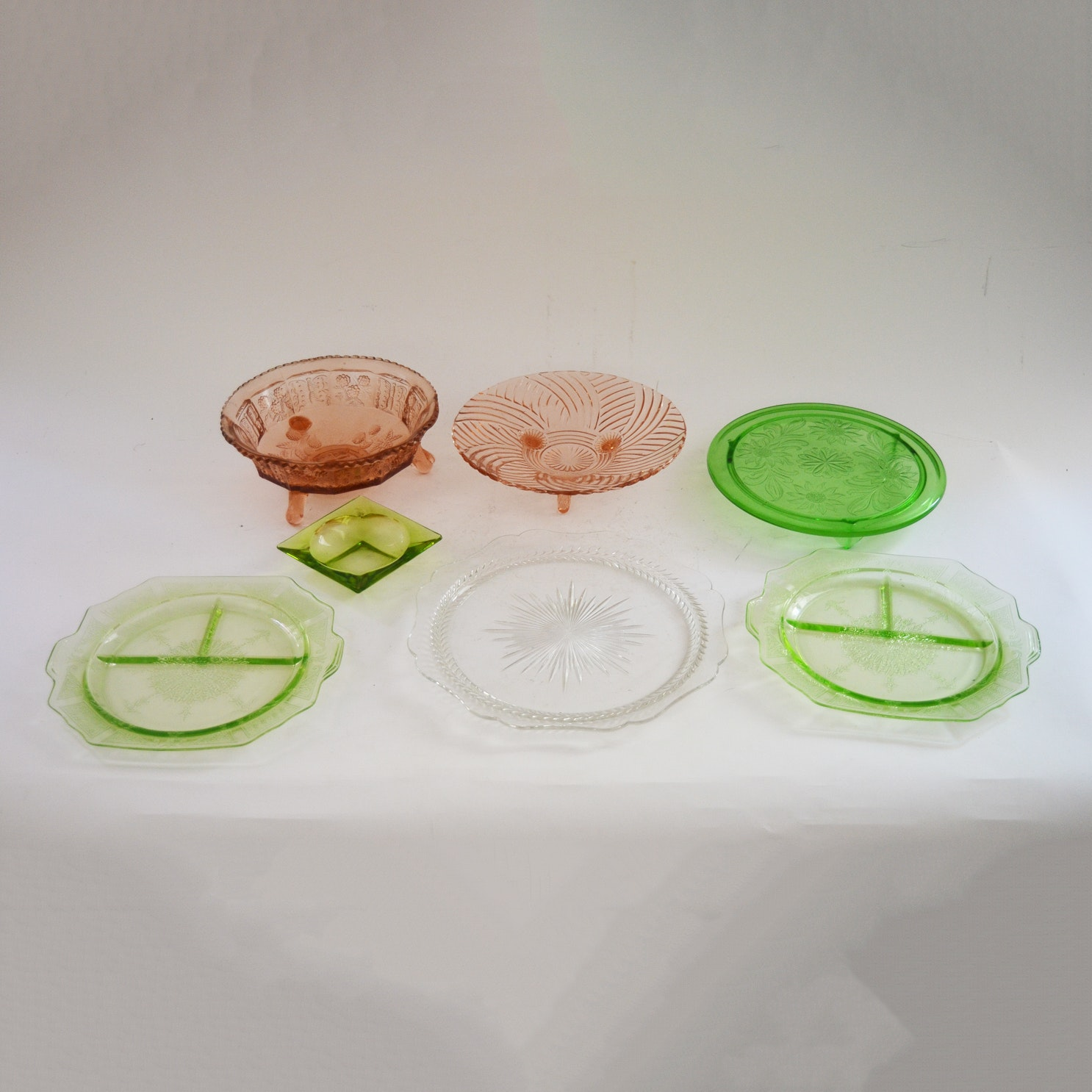 Collection of Colored Depression Glass