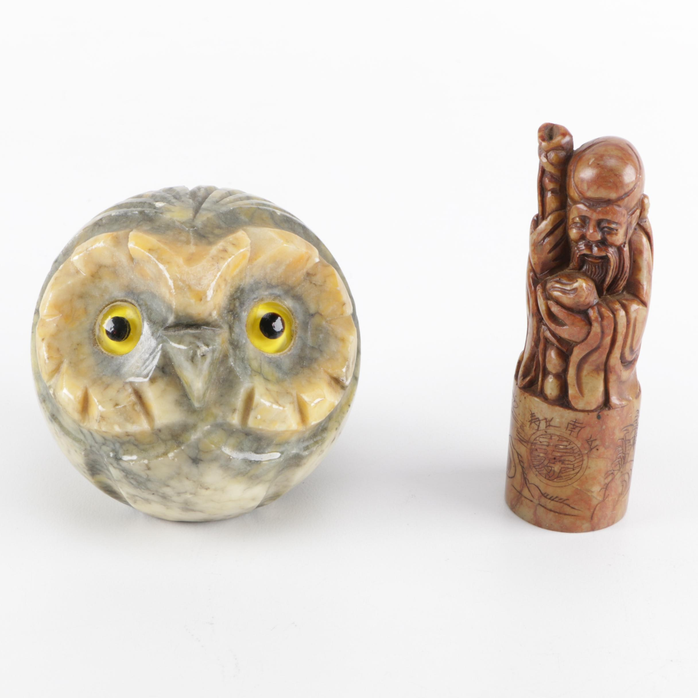 Alabaster Carved Owl and Shoulao Figurines