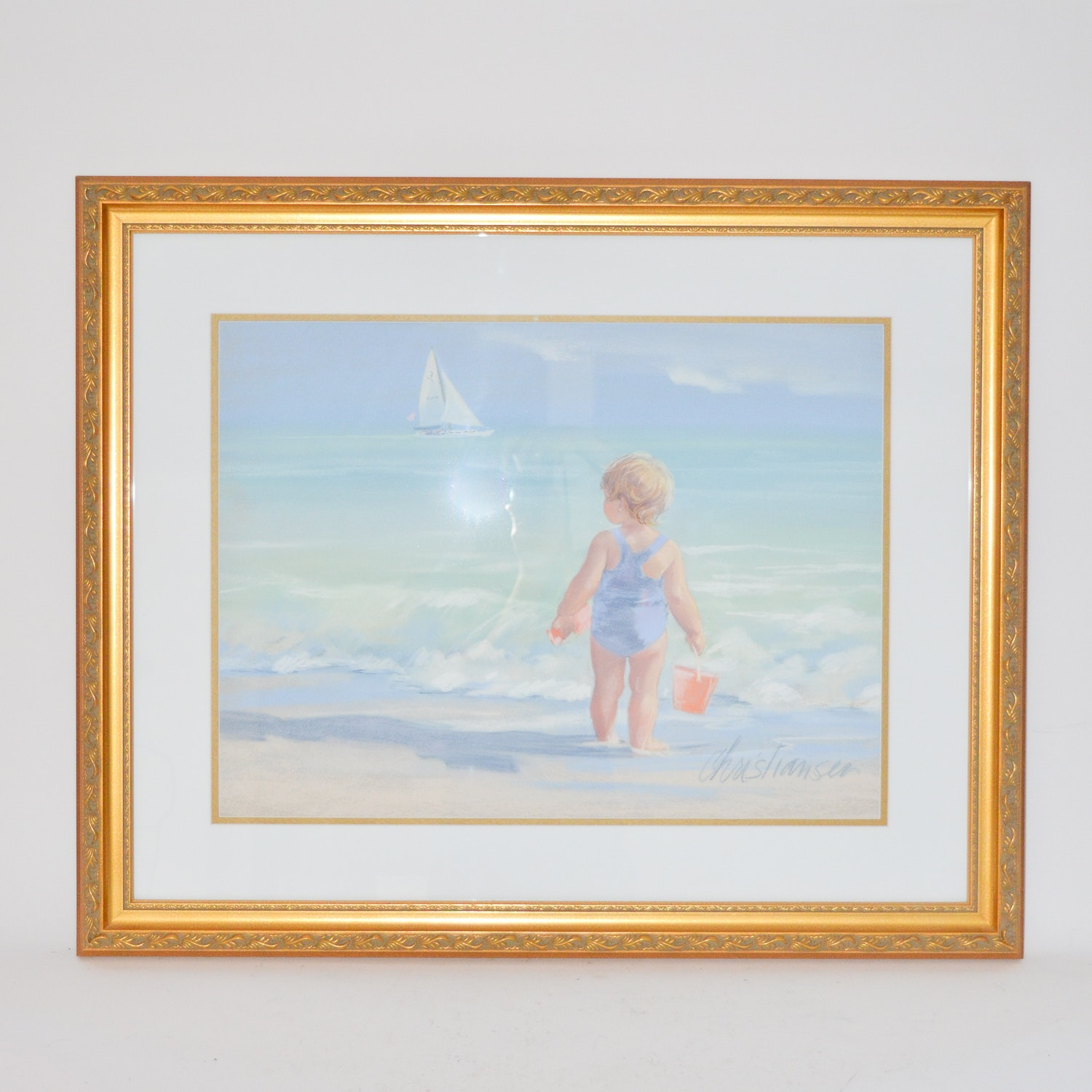 Christiansen Chalk Pastel Drawing of a Baby at the Beach