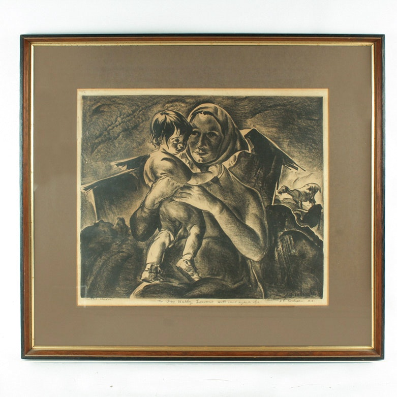 "John Edward Costigan Lithograph  ""Mother & Child"""
