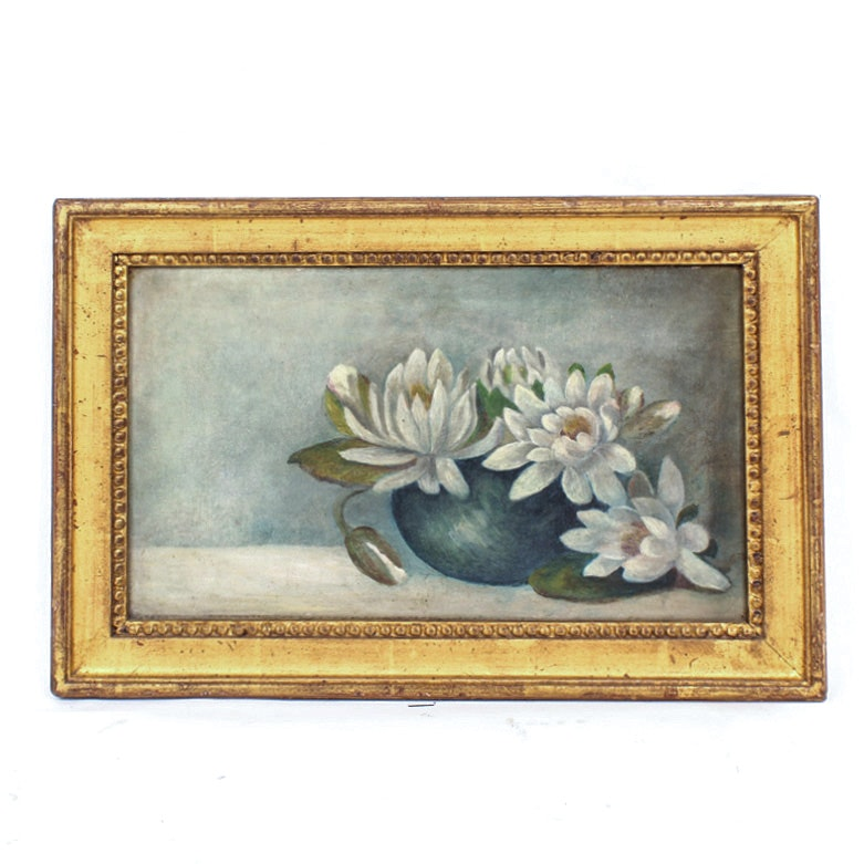 Antique Victorian Oil on Canvas Painting of Lotus Flowers
