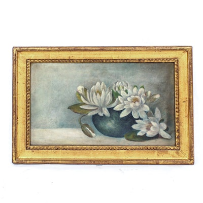 Oil Painting on Canvas of Lotus Flowers