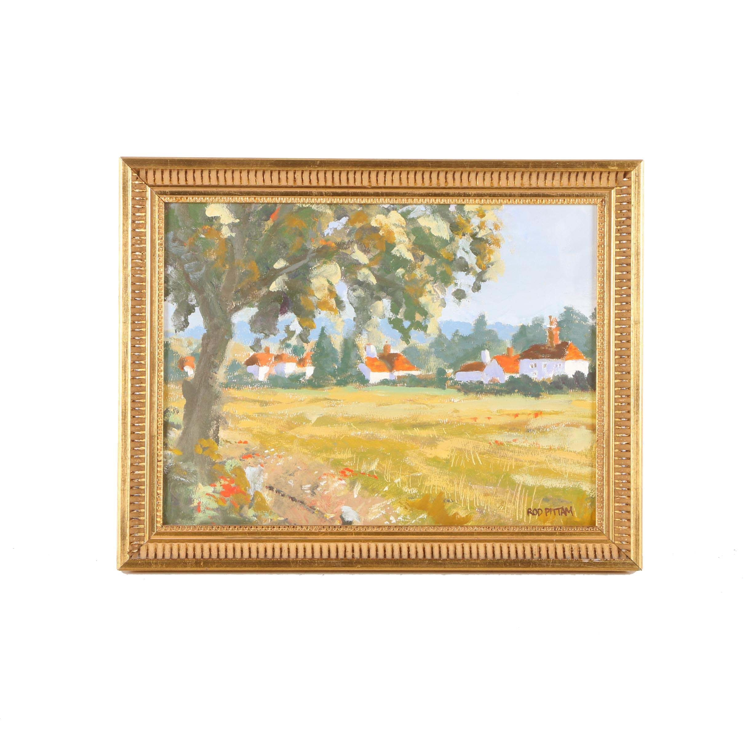 Rod Pittam Oil Painting on Mounted Paper of Villa
