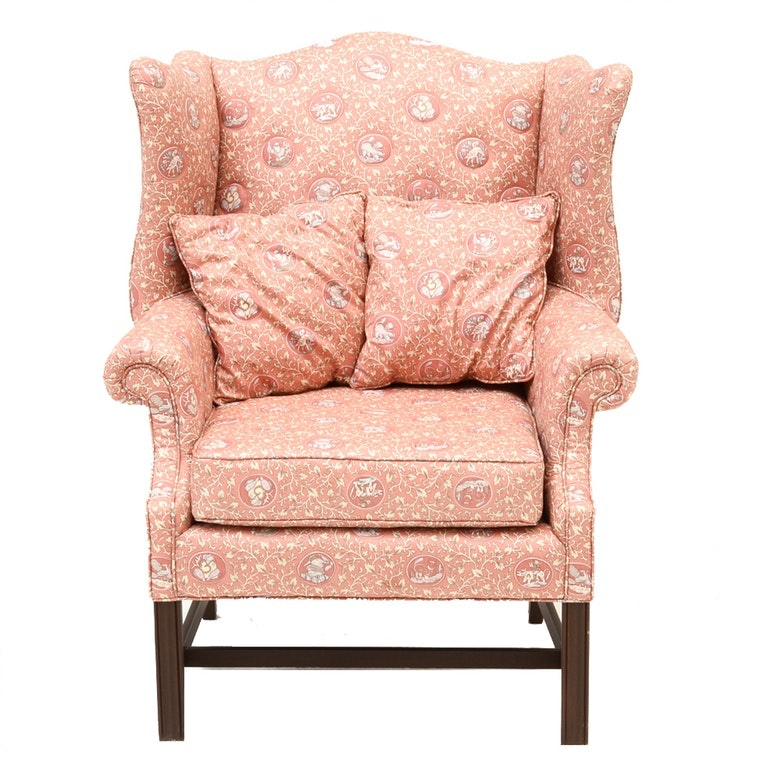 Wing Chair in Asian Style Cotton Print