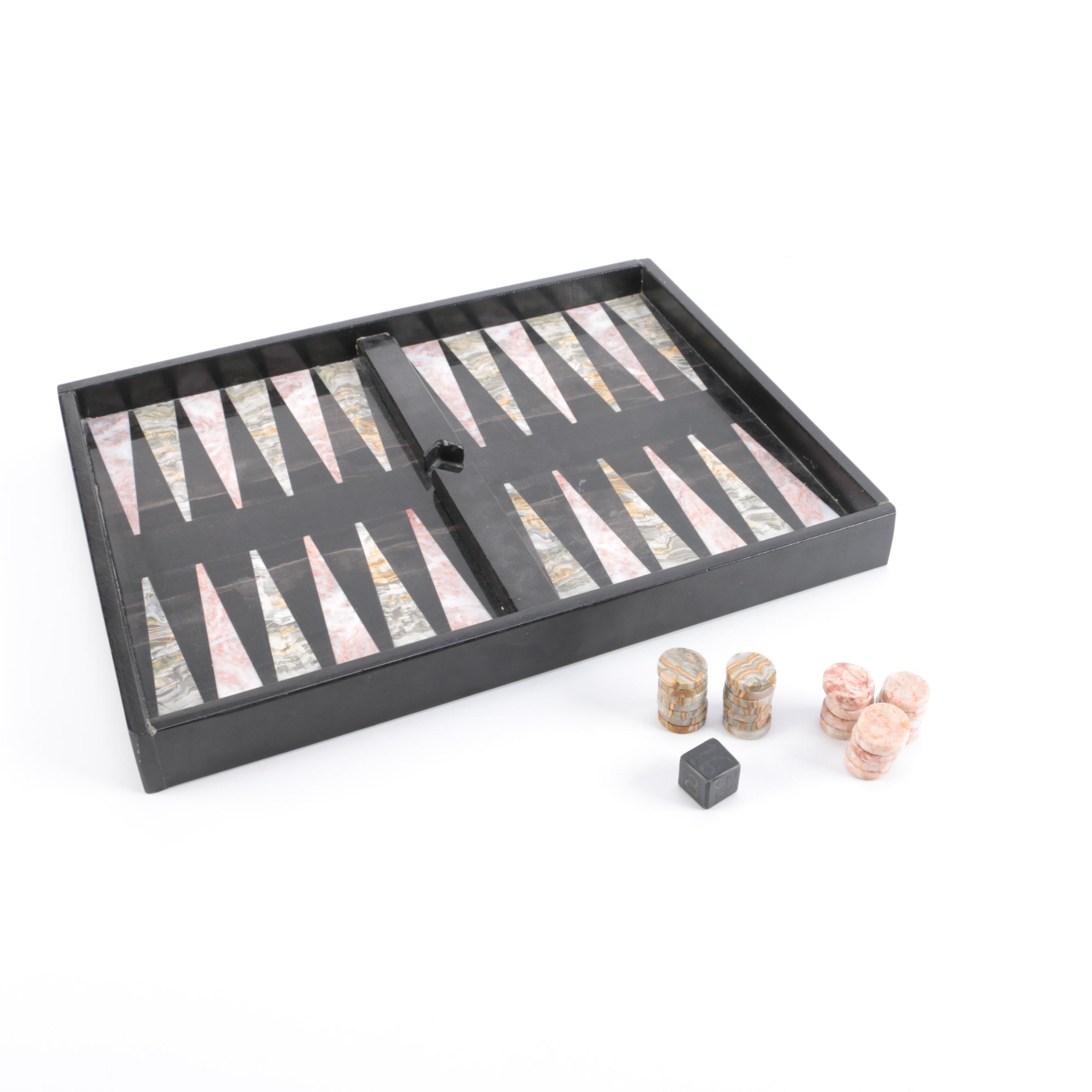 Marble and Agate Backgammon Set