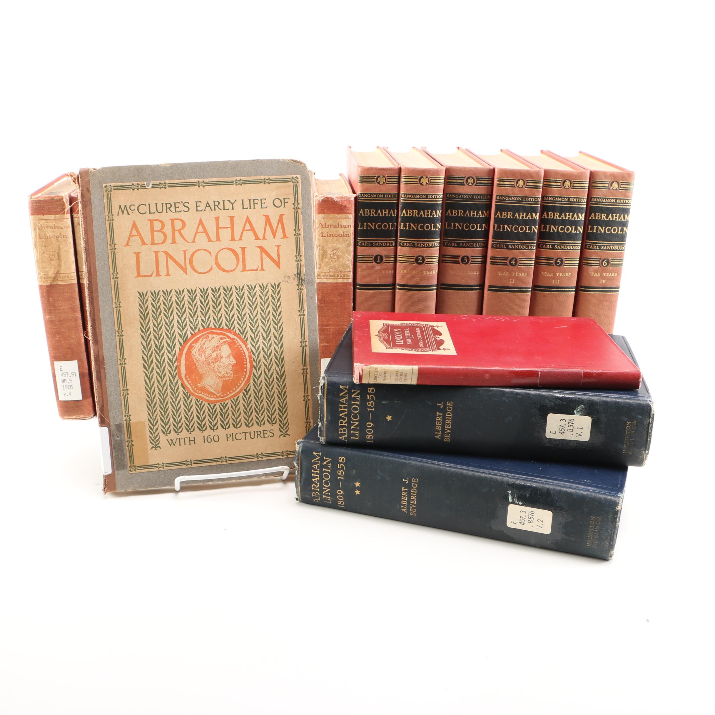 Collection of Antique and Vintage Library Books on Abraham Lincoln