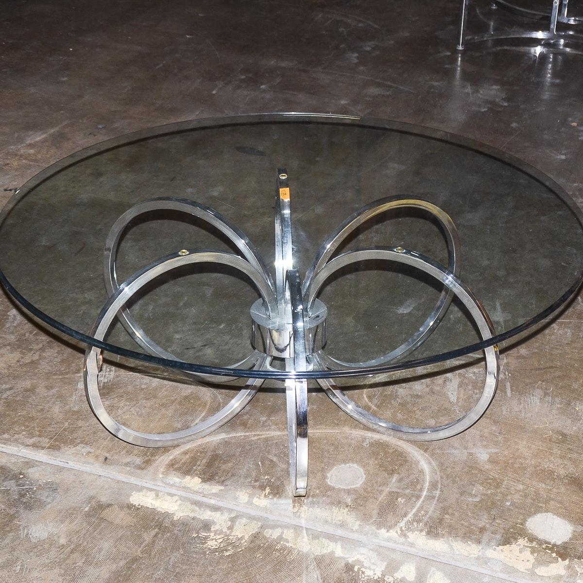 Mid Century Modern Glass And Chrome Coffee Table Ebth