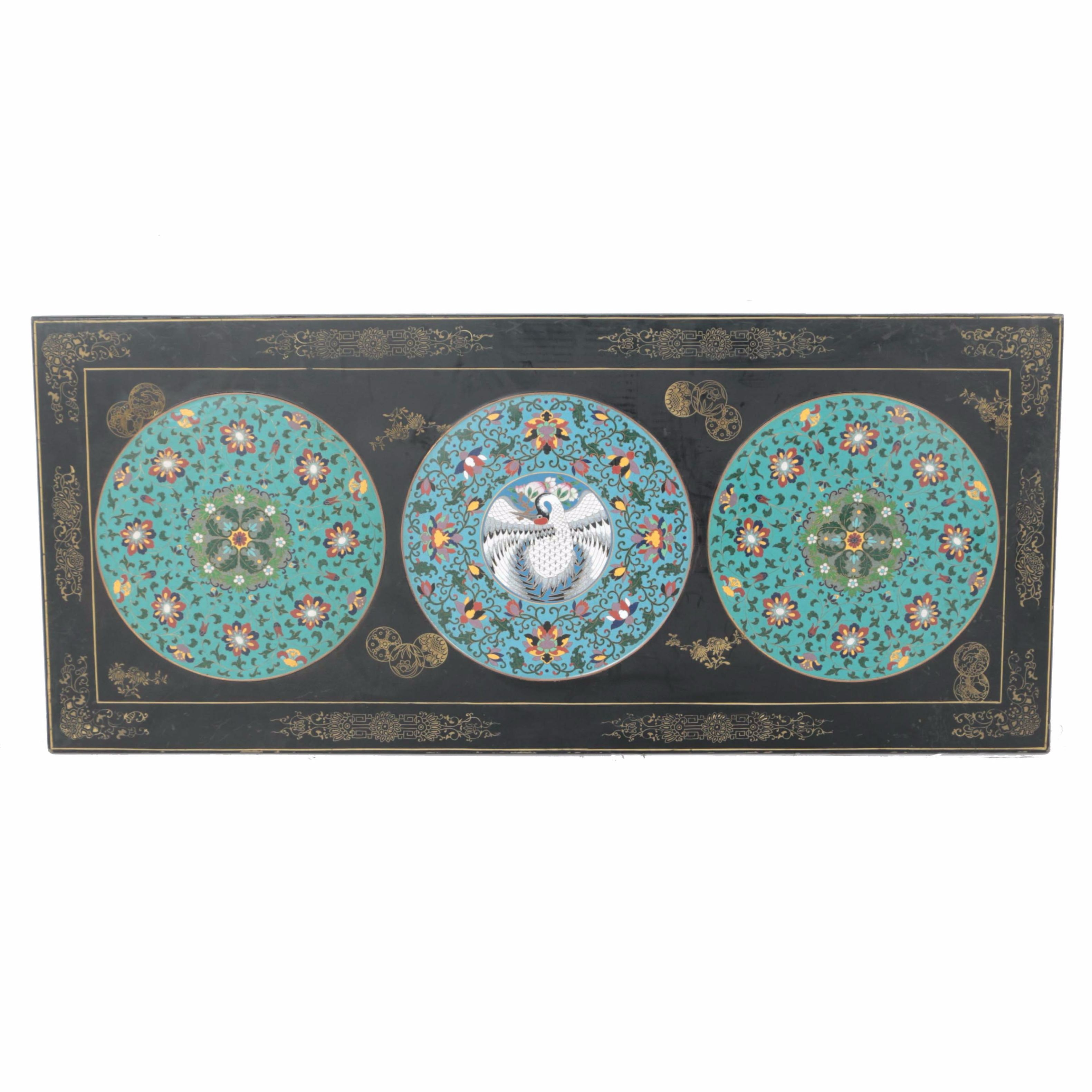 Black Lacquered Panel with Enamelled Medallions