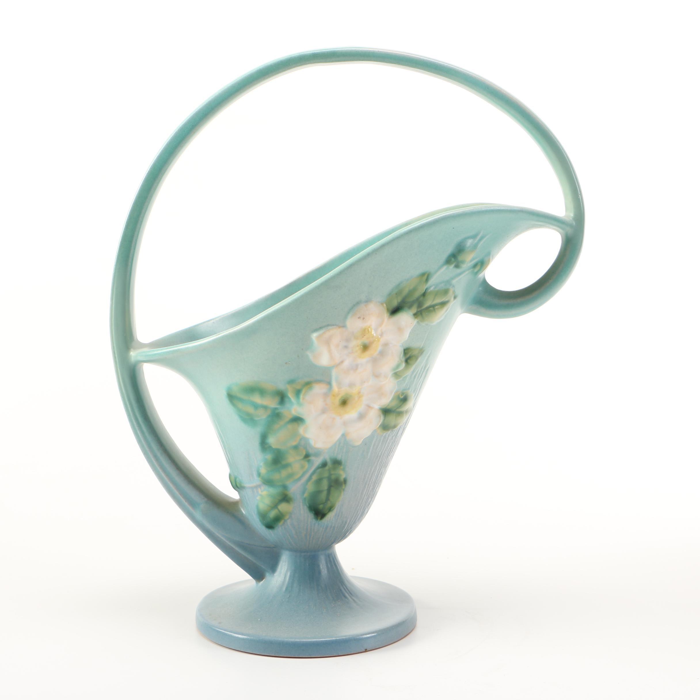 """Roseville Pottery """"White Rose"""" Basket"""
