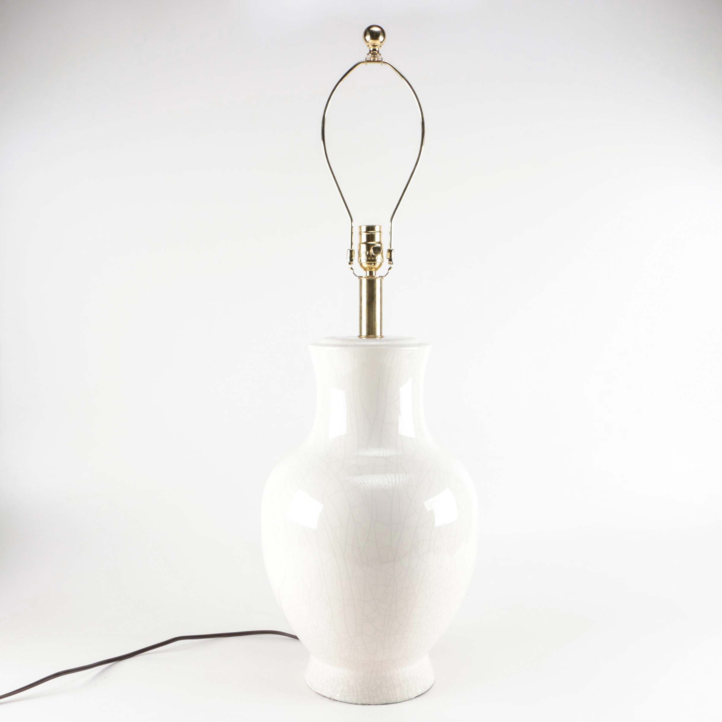 White Rounded Vase Style Table lamp