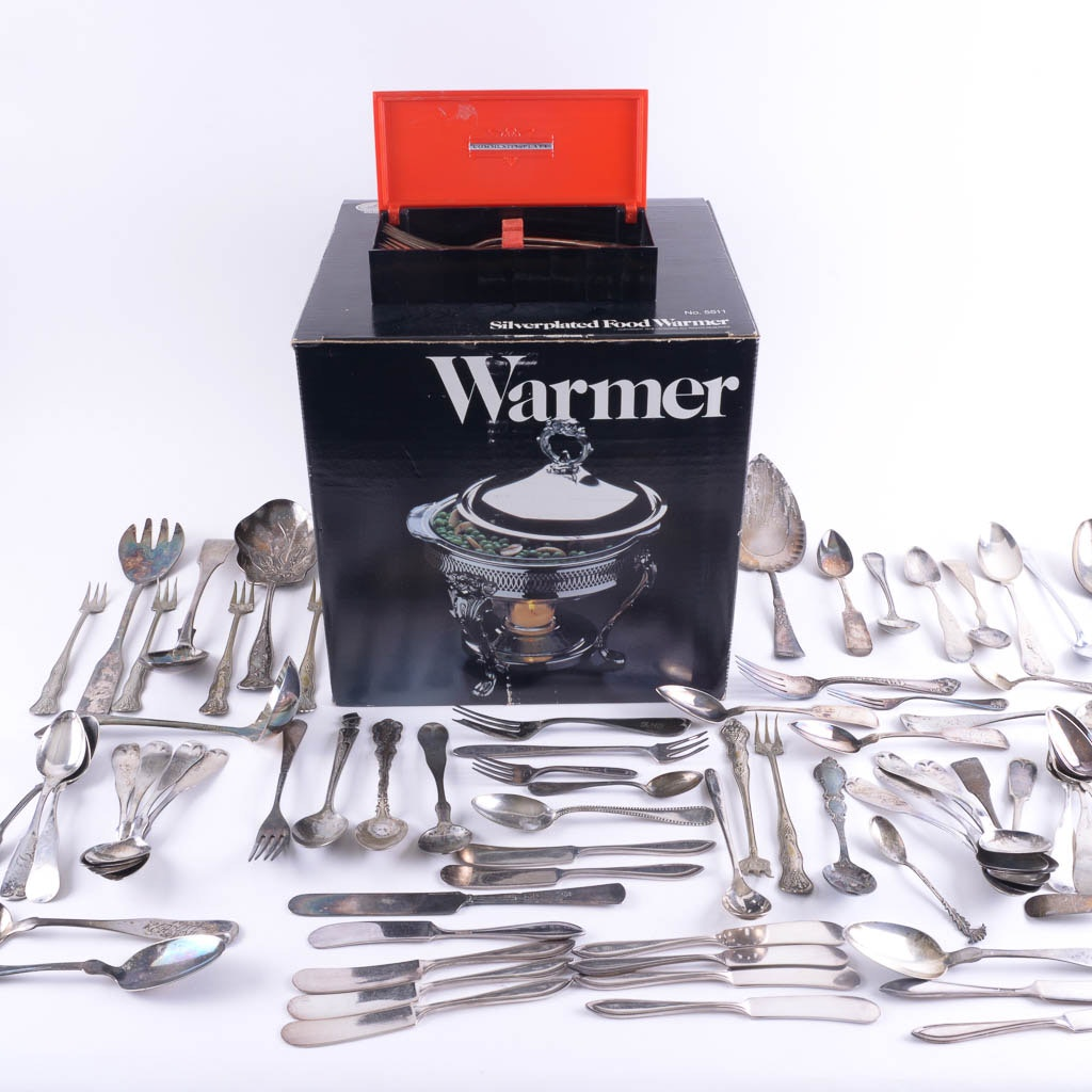 Leonard Silver Plated Food Warmer and Assorted Silver Plate Flatware