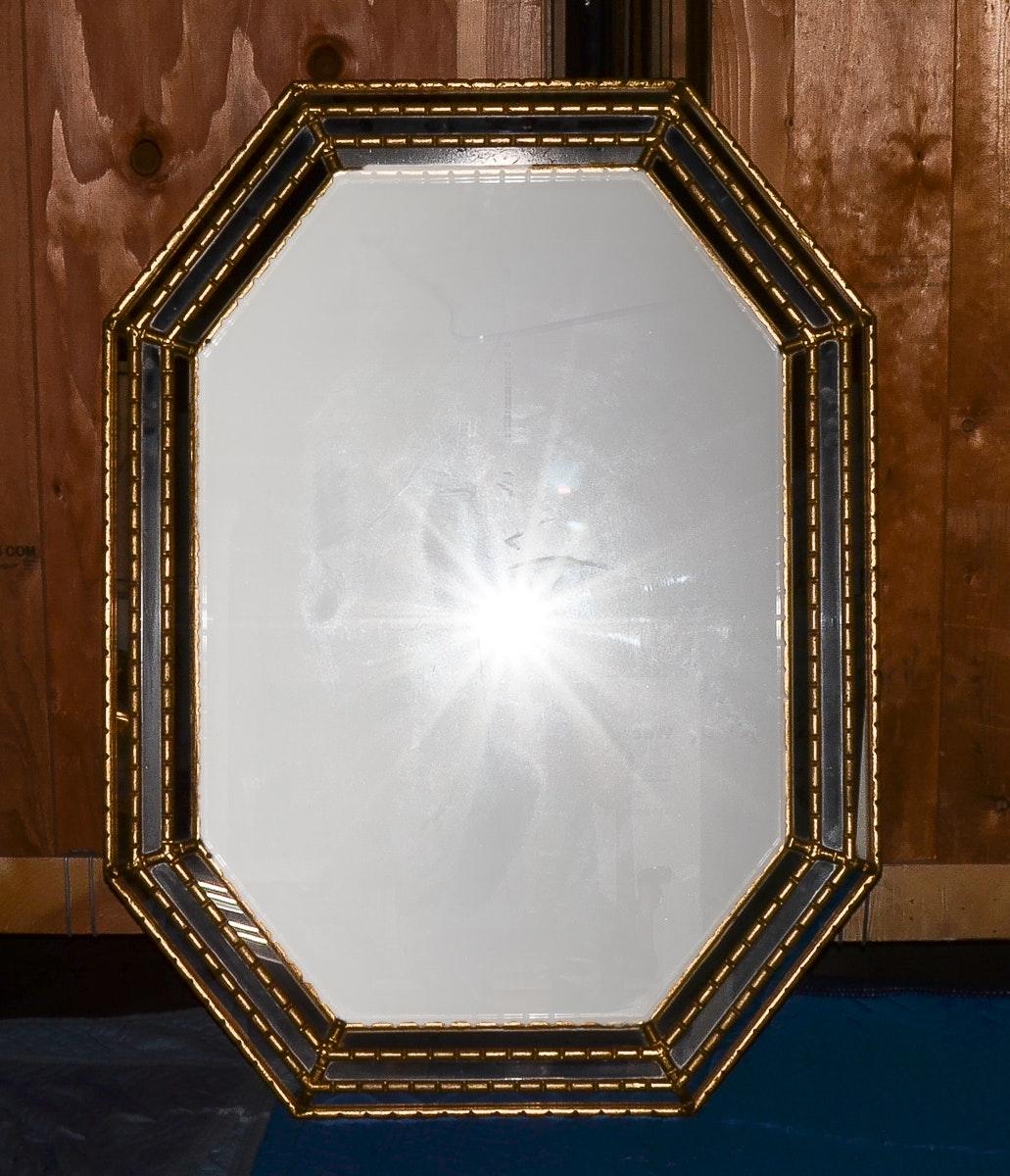Gold Tone Octagonal Wall Mirror