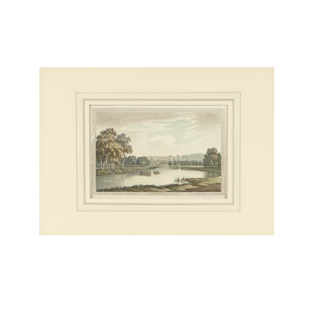 "J. Farmington and J.C. Stadler Aquatint on Paper ""View of Richmond Hill, from Twickenham"""