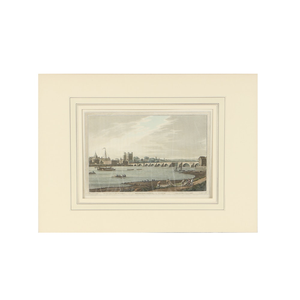 "J. Farmington and J.C. Stadler Aquatint on Paper ""Rochester Bridge and Castle"""