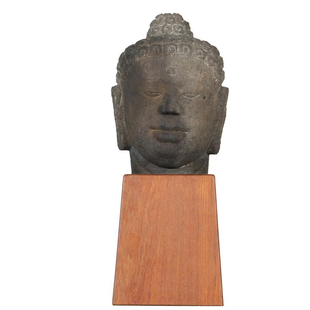 Javanese Borobudur Style Carved Volcanic Stone Buddha Head