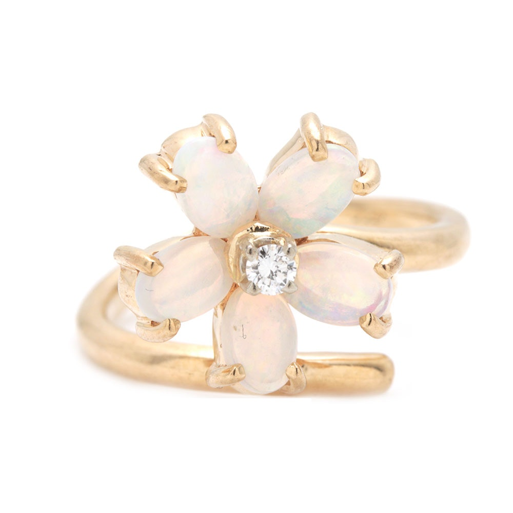 14K Yellow Gold Diamond and Opal Flower Ring