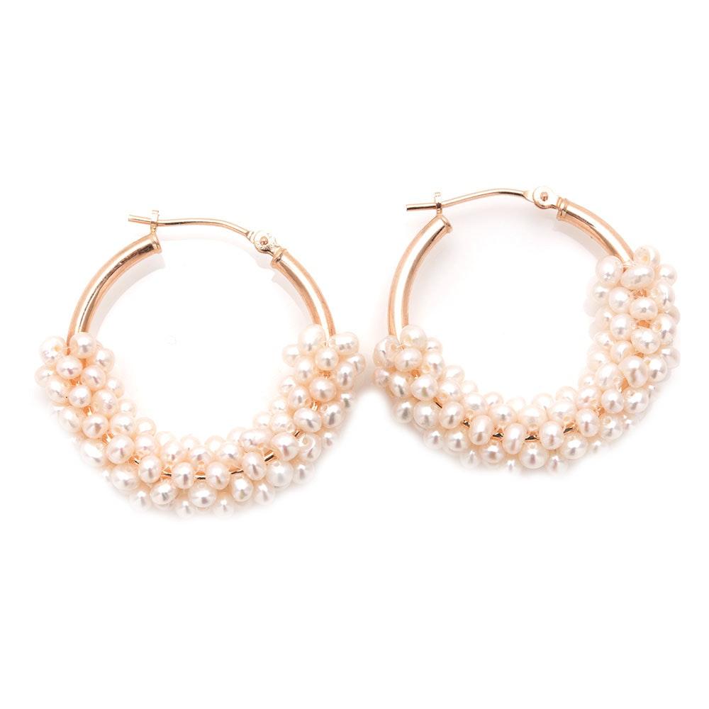 14K Yellow Gold Seed Pearl Hoop Earrings