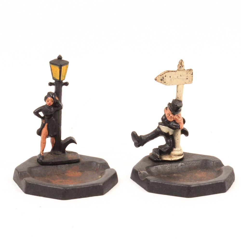 Pair of Vintage Cast Iron Ash Receivers