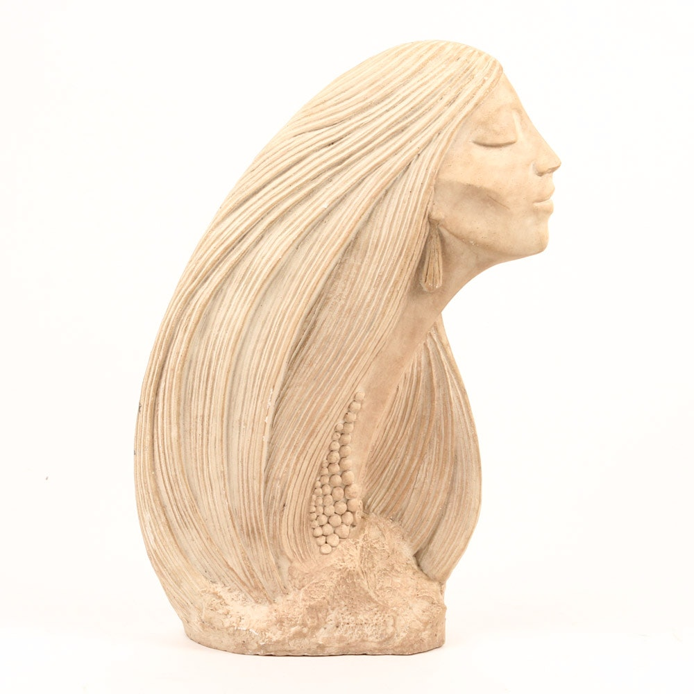 "David Fisher Reproduction Plaster Sculpture ""Pensive Moment"""