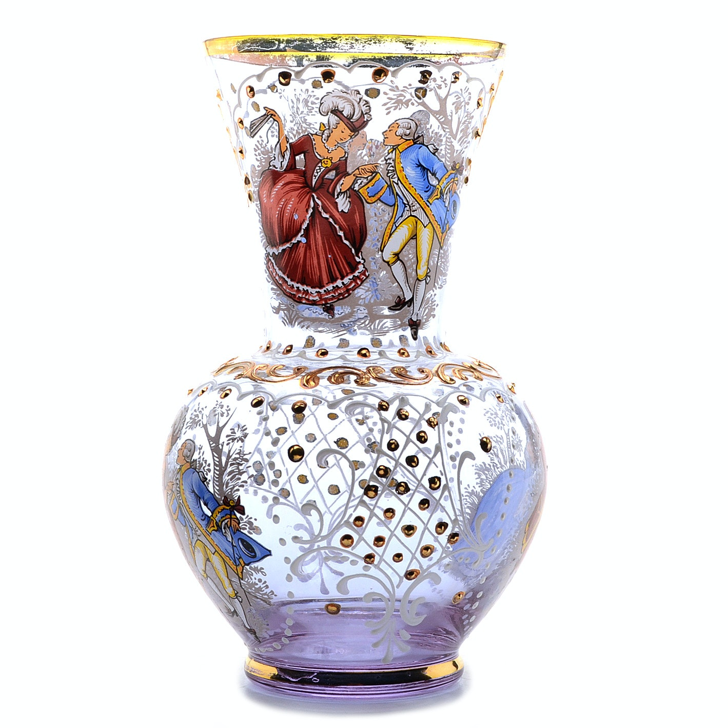 Vintage Hand Painted Clear Glass Vase