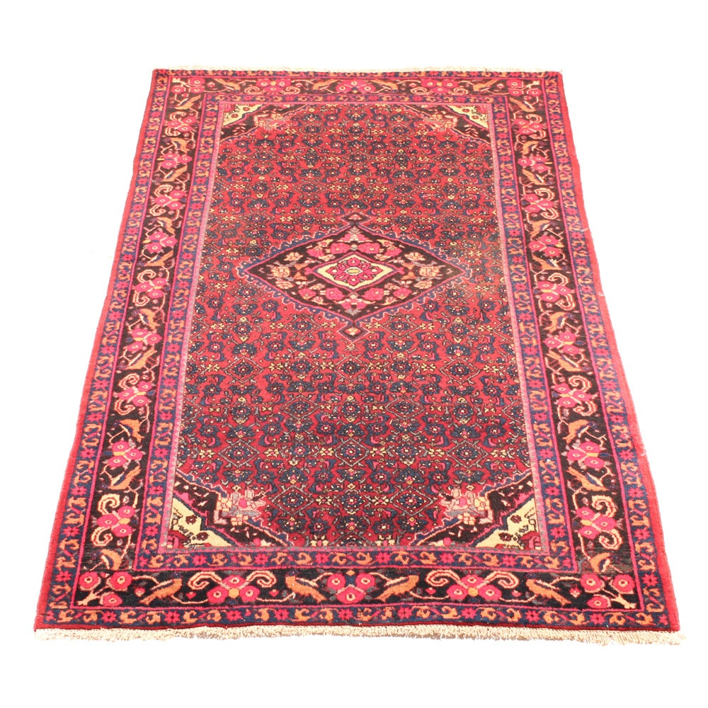Vintage Hand-Knotted Persian Malayer Sarouk Area Rug
