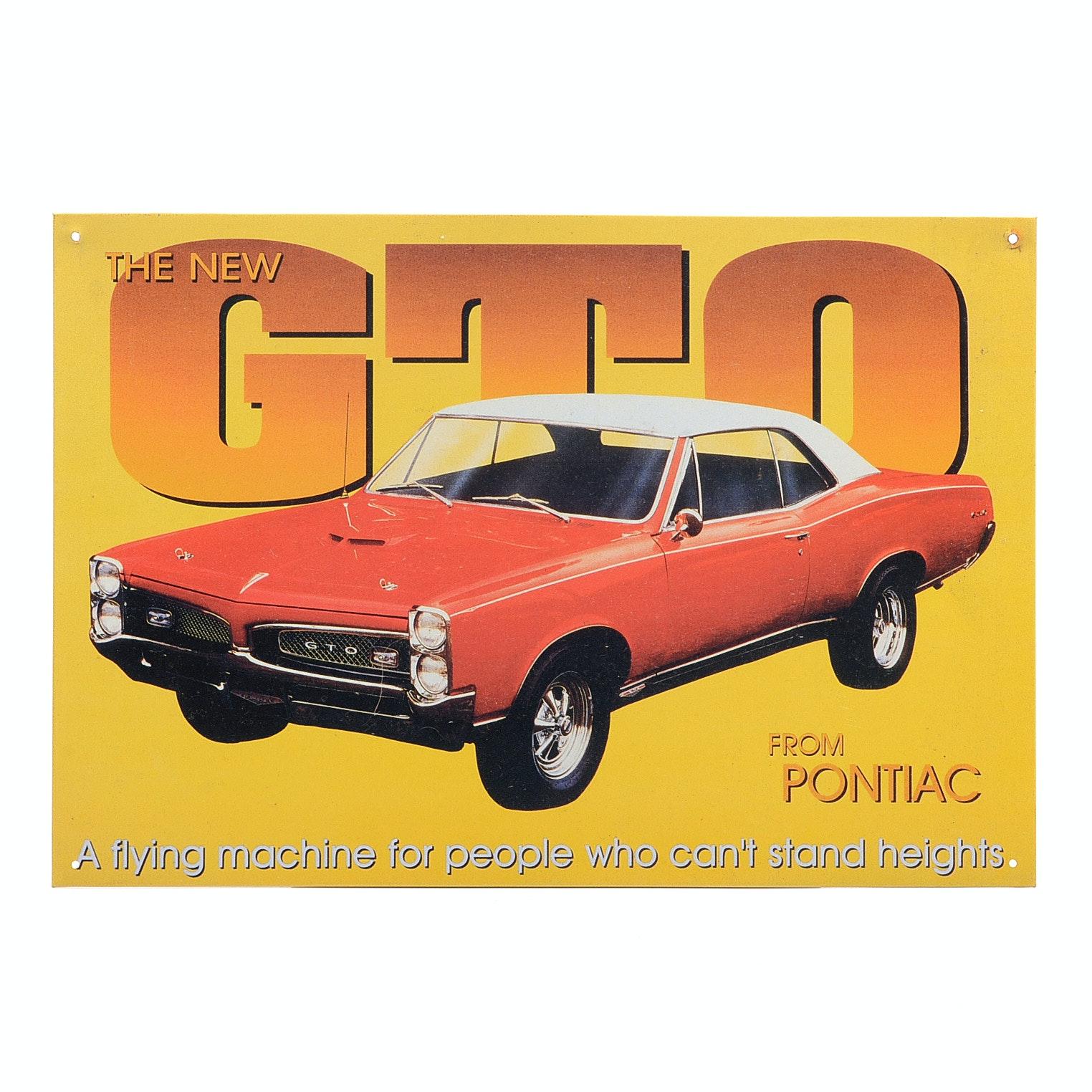 1967 Pontiac GTO Reproduction Tin Advertising Sign