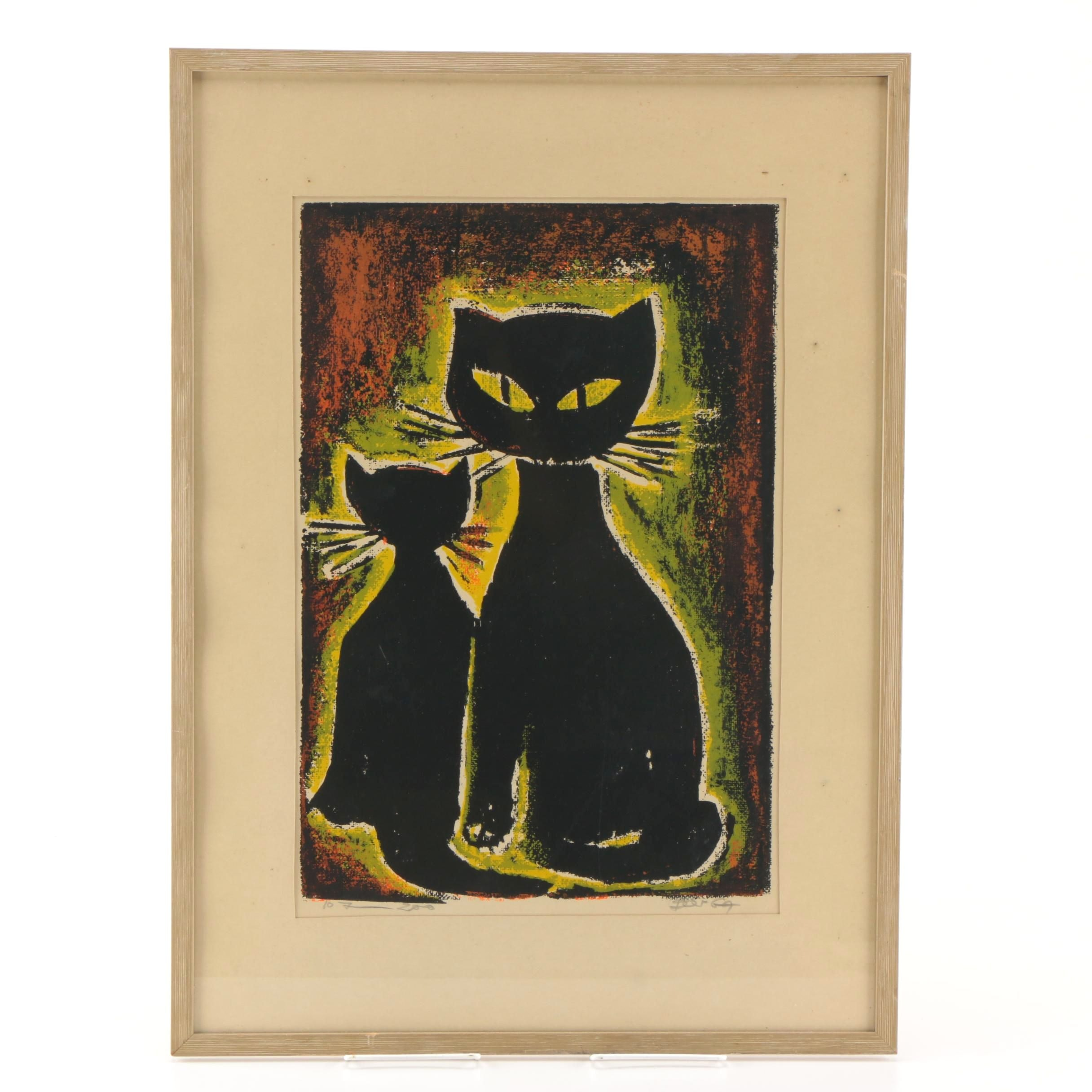 Limited Edition Serigraph on Paper of Two Cats