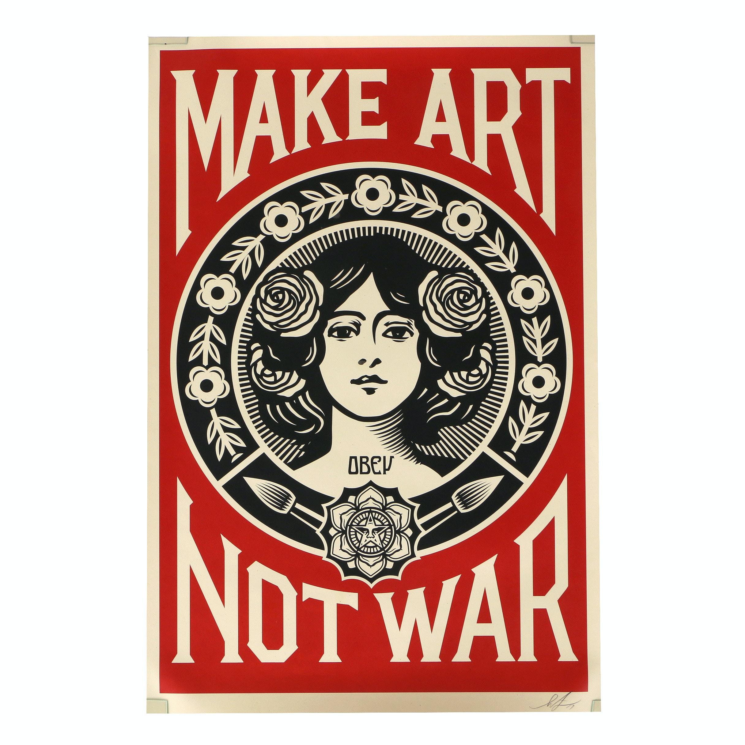 """Shepard Fairey Offset Litho Print on Paper """"Make Art Not War"""""""
