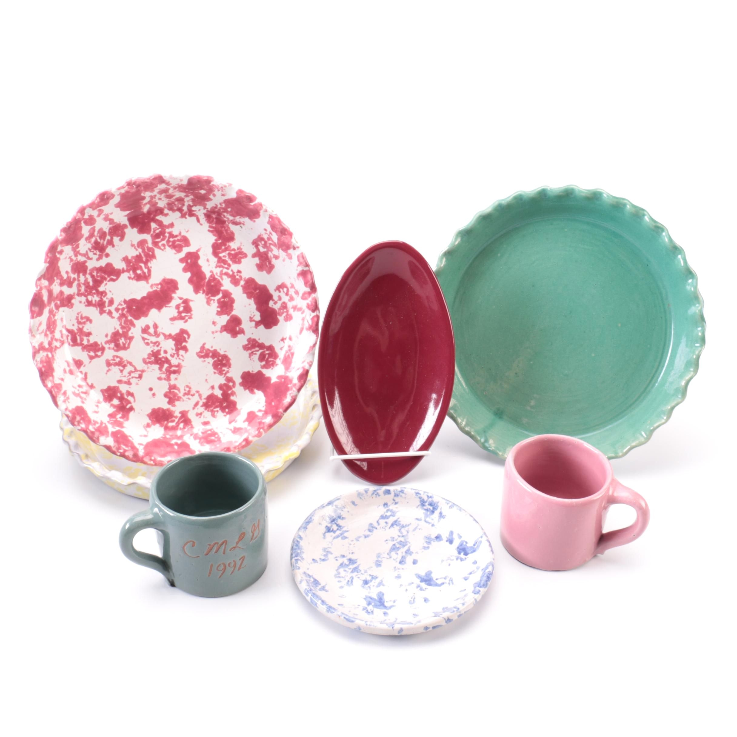 Collection of Bybee Pottery Pie Plates and Tableware