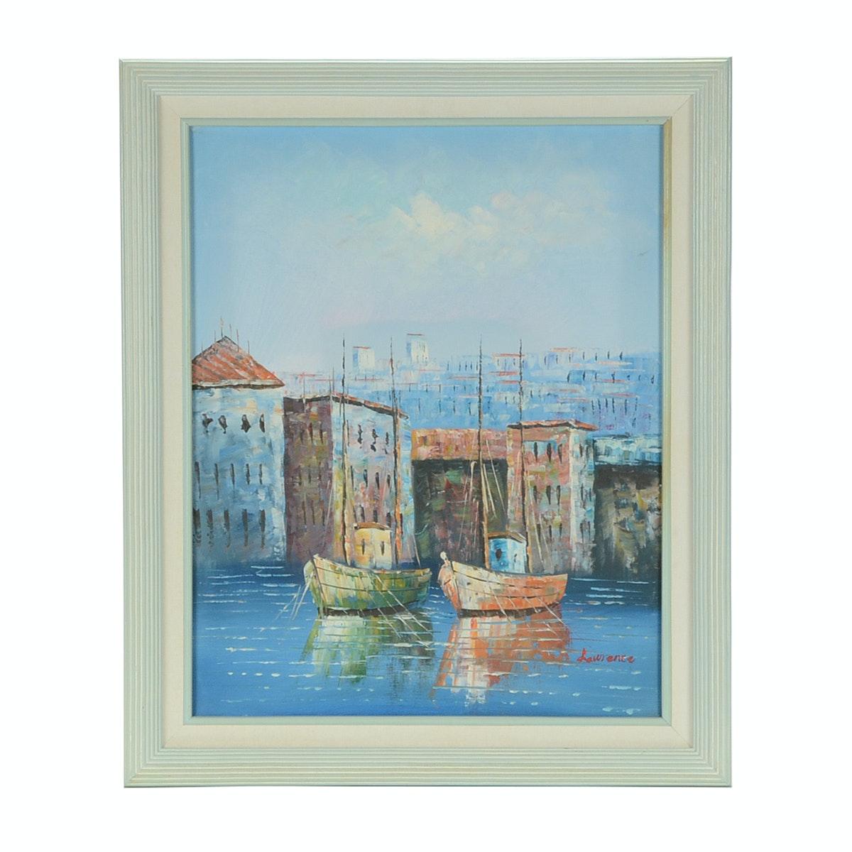 Lawrence Signed Original Acrylic Harbor Scene on Canvas